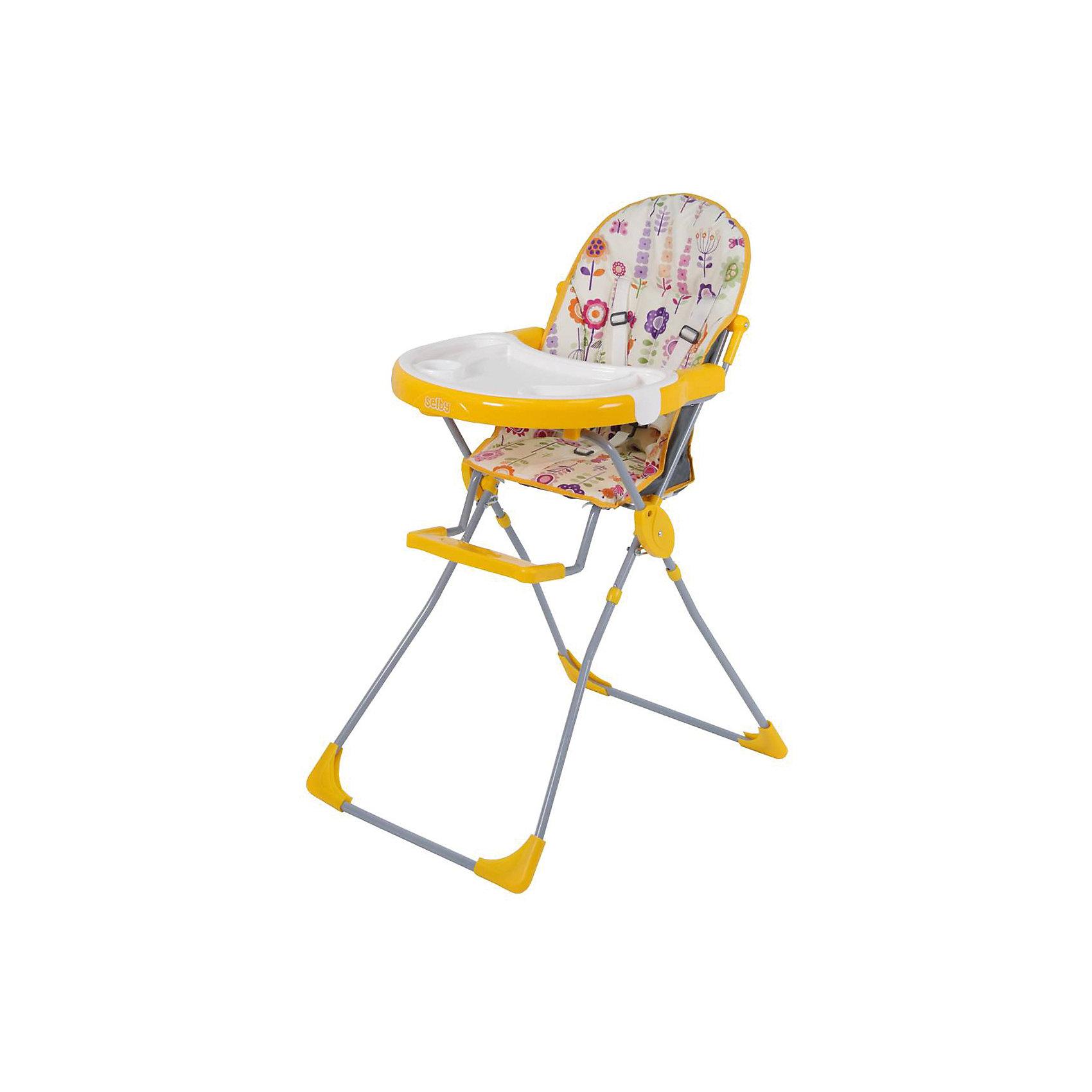 Стульчик для кормления 251 Яркий луг, Selby, желтыйот +6 месяцев<br>Характеристики товара:<br><br>• возраст от 6 месяцев;<br>• материал: пластик;<br>• максимальный вес ребёнка: 15 кг<br>• 5-ти точечные ремни безопасности;<br>• мягкое сидение<br>• подставка для ножек<br>• съёмный столик<br>• съёмный поднос с углублениями<br>• накладки на ножках не скользят и не царапают пол<br>• размер в разложенном виде 100,5х73,5х53 см;<br>• размер упаковки 53х75х30 см;<br>• вес  упаковки 5,9 кг;<br>• страна производитель: Китай.<br><br>Стульчик для кормления 251 «Яркий луг» Selby — надежный помощник молодым родителям для кормления малыша. Стульчик оснащен удобным мягким сидением и подставкой для ножек. На столике имеется дополнительный съемный пластиковый поднос с углублениями и бортиками. <br><br>В кресле ребенка удерживают 5-ти точечные ремни безопасности. Накладки на ножках не дают стульчику скользить и не повреждают напольное покрытие. В сложенном виде стульчик не занимает много места. Для удобства хранения столик можно отвести на обратную сторону стульчика.<br><br>Стульчик для кормления 251 «Яркий луг» Selby можно приобрести в нашем интернет-магазине.<br><br>Ширина мм: 530<br>Глубина мм: 750<br>Высота мм: 300<br>Вес г: 5900<br>Цвет: желтый<br>Возраст от месяцев: 6<br>Возраст до месяцев: 36<br>Пол: Унисекс<br>Возраст: Детский<br>SKU: 5610455