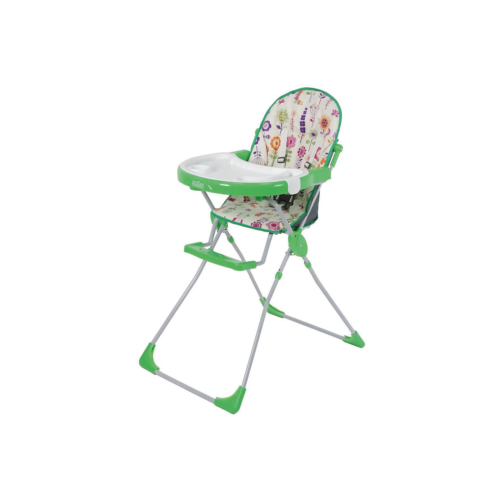 Стульчик для кормления 251 Яркий луг, Selby, зеленыйот +6 месяцев<br>Характеристики товара:<br><br>• возраст от 6 месяцев;<br>• материал: пластик;<br>• максимальный вес ребёнка: 15 кг<br>• 5-ти точечные ремни безопасности;<br>• мягкое сидение<br>• подставка для ножек<br>• съёмный столик<br>• съёмный поднос с углублениями<br>• накладки на ножках не скользят и не царапают пол<br>• размер в разложенном виде 100,5х73,5х53 см;<br>• размер упаковки 53х75х30 см;<br>• вес  упаковки 5,9 кг;<br>• страна производитель: Китай.<br><br>Стульчик для кормления 251 «Яркий луг» Selby — надежный помощник молодым родителям для кормления малыша. Стульчик оснащен удобным мягким сидением и подставкой для ножек. На столике имеется дополнительный съемный пластиковый поднос с углублениями и бортиками. <br><br>В кресле ребенка удерживают 5-ти точечные ремни безопасности. Накладки на ножках не дают стульчику скользить и не повреждают напольное покрытие. В сложенном виде стульчик не занимает много места. Для удобства хранения столик можно отвести на обратную сторону стульчика.<br><br>Стульчик для кормления 251 «Яркий луг» Selby можно приобрести в нашем интернет-магазине.<br><br>Ширина мм: 530<br>Глубина мм: 750<br>Высота мм: 300<br>Вес г: 5900<br>Цвет: зеленый<br>Возраст от месяцев: 6<br>Возраст до месяцев: 36<br>Пол: Унисекс<br>Возраст: Детский<br>SKU: 5610456