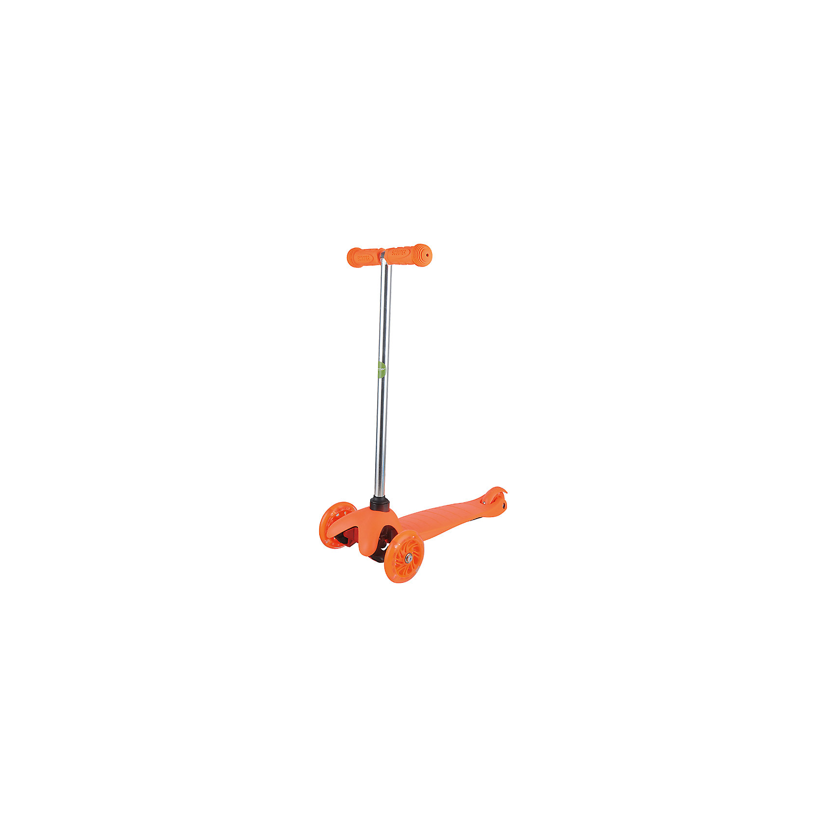Самокат ZL-66, оранжевый, ZilmerСамокаты<br>Характеристики товара:<br><br>• возраст от 3 лет;<br>• материал: алюминий, пластик, сталь;<br>• в комплекте: самокат, шестигранные ключи, инструкция;<br>• максимальная нагрузка до 50 кг;<br>• материал колес: полиуретан;<br>• диаметр передних колес 11 см, заднего колеса 7,8 см;<br>• размер самоката 54х25х66 см;<br>• размер упаковки 56х14х19 см;<br>• вес упаковки 2,6 кг;<br>• страна производитель: Китай.<br><br>Самокат ZL-66 Zilmer оранжевый позволит активно провести время на прогулке. Катание на самокате развивает координацию движений, учит держать равновесие. 2 передних колеса придают хорошей устойчивости, позволяют легко учиться держать равновесие. Платформа самоката выполнена из прочного пластика и имеет рифленую поверхность, препятствующую соскальзывание во время езды. <br><br>Удобный руль обеспечивает комфортное управление. Прорезиненные накладки на ручках не дают ладошкам соскальзывать при движении. Колеса выполнены из износостойкого долговечного полиуретана. Главное преимущество модели — светящиеся колеса во время катания.<br><br>Самокат ZL-66 Zilmer оранжевый можно приобрести в нашем интернет-магазине.<br><br>Ширина мм: 560<br>Глубина мм: 140<br>Высота мм: 190<br>Вес г: 2600<br>Цвет: оранжевый<br>Возраст от месяцев: 36<br>Возраст до месяцев: 72<br>Пол: Унисекс<br>Возраст: Детский<br>SKU: 5610980