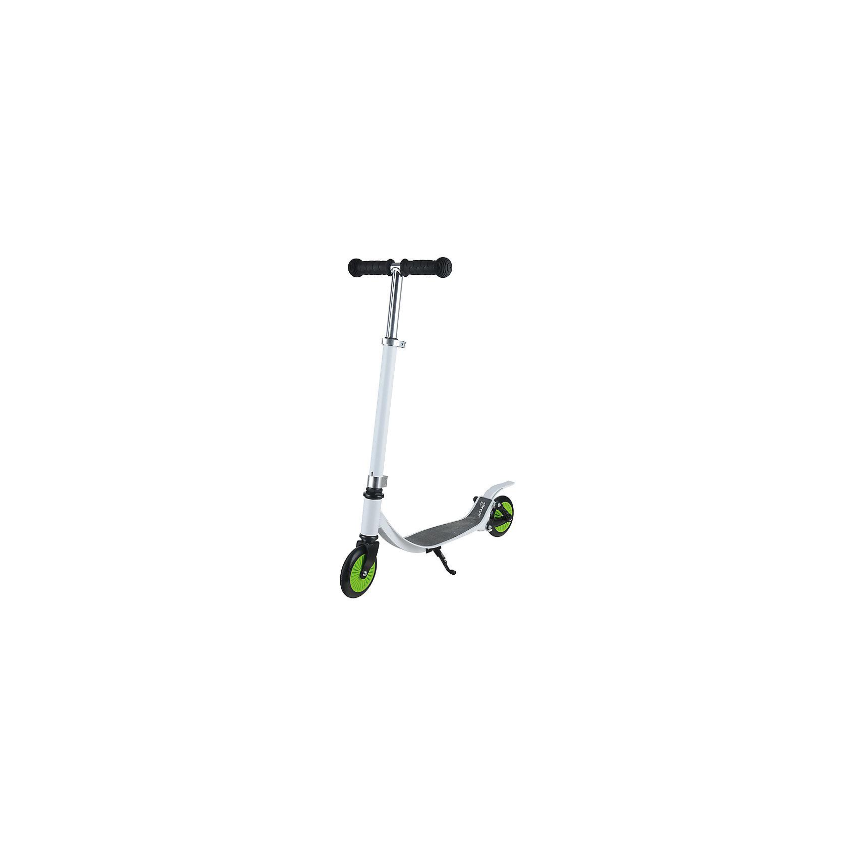 Самокат ZL-76, бело-зелёный,  ZilmerСамокаты<br>Характеристики товара:<br><br>• возраст от 6 лет;<br>• материал: алюминий;<br>• в комплекте: самокат, шестигранные ключи, инструкция;<br>• максимальная нагрузка до 50 кг;<br>• регулировка руля;<br>• наличие поджножки<br>• 2 задних амортизатора;<br>• материал колес: полиуретан;<br>• диаметр колес 12 см;<br>• размер самоката 76х66,5х27,5 см;<br>• вес самоката 2 кг;<br>• размер упаковки 66х35х11 см;<br>• вес упаковки 3,15 кг;<br>• страна производитель: Китай.<br><br>Самокат Zilmer ZL-76 бело-зеленый понравится любителям активных летних прогулок. Самокат выполнен из прочного облегченного алюминия, выдерживающего большие нагрузки. Дека покрыта нескользящим покрытием, которое препятствует соскальзывание во время катания. Руль можно отрегулировать под рост ребенка. <br><br>Ручки руля имеют противоскользящие накладки. Самокат оснащен 2 задними амортизаторами, которые делают катание плавным и ровным даже по бездорожью. Подножка позволяет поставить самокат в вертикальном положении на время остановки.<br><br>Самокат Zilmer ZL-76 бело-зеленый можно приобрести в нашем интернет-магазине.<br><br>Ширина мм: 660<br>Глубина мм: 110<br>Высота мм: 350<br>Вес г: 3150<br>Возраст от месяцев: 60<br>Возраст до месяцев: 2147483647<br>Пол: Унисекс<br>Возраст: Детский<br>SKU: 5610987