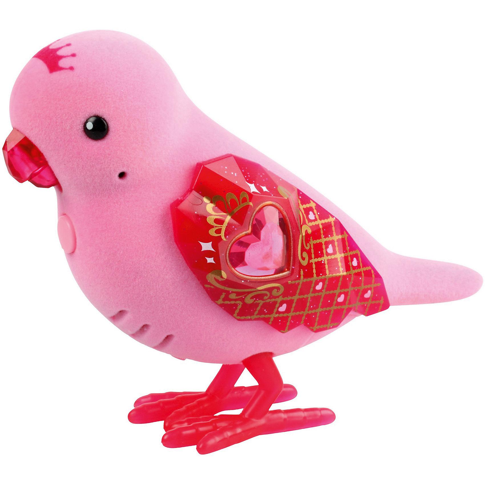 Интерактивная птичка Princess Gemma, Little Live Pets, MooseИнтерактивные животные<br>Птичка Princess Gemma – это яркая игрушка, которая станет незабываемым подарком для ребенка. Очаровательная птичка-принцесса имеет ярко-розовый окрас. На голове игрушки нарисована корона. Красные лапки, клюв и блестящие крылышки обязательно привлекут внимание ребенка. Крылья украшены золотистыми узорами. На груди птички расположена кнопка, нажав на которую, ребенок услышит ее пение. Птичка может двигать клювом, а если ребенок ее погладит, то она будет реагировать на это.<br>В комплект входит: 1 птичка.<br>Игрушка продается в упаковке блистерного типа. Ее размер: 22х5,5х14 см.<br>Для работы потребуются две батарейки ААA. В набор не входят<br>Рекомендуемый возраст: от 5 лет.<br><br>Ширина мм: 55<br>Глубина мм: 140<br>Высота мм: 220<br>Вес г: 140<br>Возраст от месяцев: 60<br>Возраст до месяцев: 2147483647<br>Пол: Унисекс<br>Возраст: Детский<br>SKU: 5611996