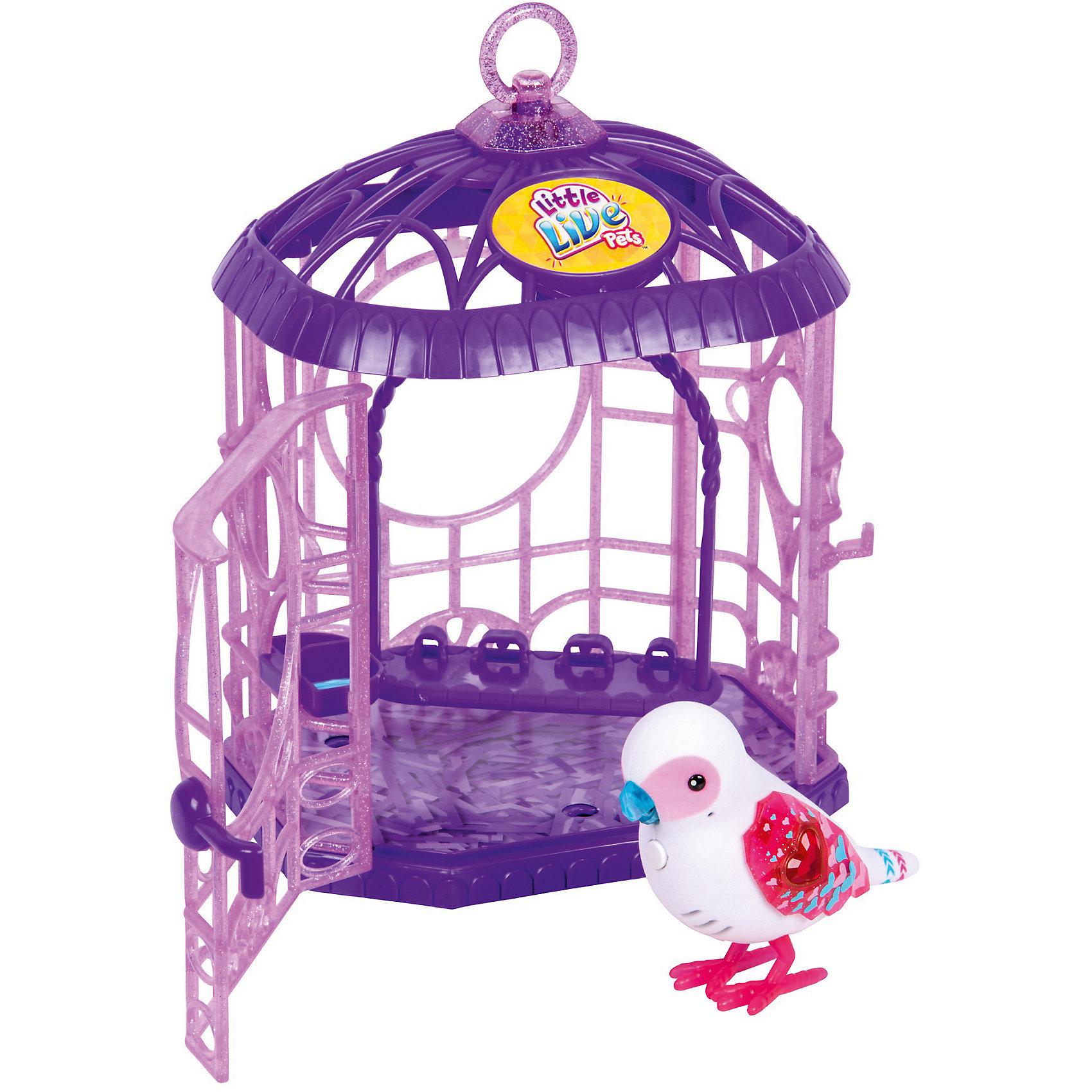 Интерактивная птичка в клетке, белая, Little Live Pets, MooseИнтерактивные животные<br>Характеристики товара:<br><br>• возраст от 5 лет;<br>• материал: пластик;<br>• в комплекте: птичка, клетка;<br>• работает от 2 батареек ААА (тестовые в комплекте);<br>• размер упаковки 29х15х18,9 см;<br>• вес упаковки 580 гр.;<br>• страна производитель: Китай.<br><br>Интерактивная птичка в клетке Little Live Pets Mosse белая — оригинальный маленький питомец, который умеет петь песенки, двигать клювом и реагирует на поглаживания. У птички яркие крылышки, украшенные камушком и узорами. На груди птички кнопка, нажав на которую, птичка начинает петь. Дома птичку можно держать в клетке с открывающейся дверцей, внутри которой есть шест для птички и кормушка. На клетке имеется кольцо, за которое клетку можно подвесить. <br><br>Интерактивную птичку в клетке Little Live Pets Mosse белую можно приобрести в нашем интернет-магазине.<br><br>Ширина мм: 150<br>Глубина мм: 189<br>Высота мм: 290<br>Вес г: 580<br>Возраст от месяцев: 60<br>Возраст до месяцев: 2147483647<br>Пол: Унисекс<br>Возраст: Детский<br>SKU: 5612001