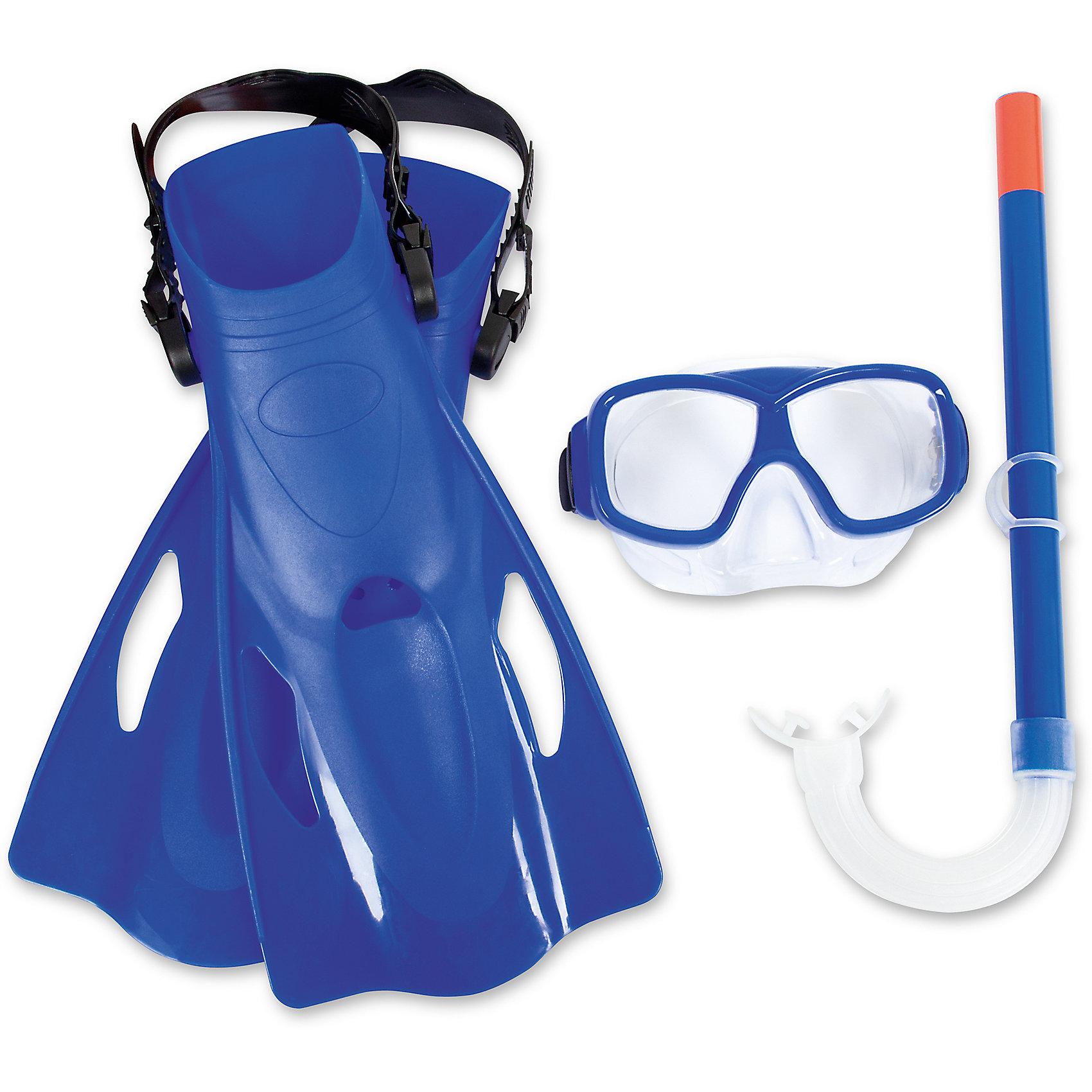 Набор для ныряния SureSwim подростковый, Bestway, синийОчки, маски, ласты, шапочки<br>Характеристики товара:<br><br>• возраст от 7 лет;<br>• материал: пластик, поликарбонат, латекс;<br>• в комплекте: маска, трубка, ласты;<br>• размер ласт 39-42;<br>• размер упаковки 41х11х21 см;<br>• вес упаковки 614 гр.;<br>• страна производитель: Китай.<br><br>Набор для ныряния Bestway SureSwim синий позволит активно провести время. Набор включает в себя все необходимое для подводного плавания. Маска плотно прилегает к лицу, препятствуя попаданию воды в глаза. Линзы из поликарбоната обеспечивают хороший обзор. Ремешок настраивается под нужный размер. Трубка позволяет оставаться под водой длительное время. Загубник трубки может изменять положение. Ласты крепятся при помощи ремешка, который регулируется в зависимости от размера. <br><br>Набор для ныряния подростковый Bestway SureSwim синий можно приобрести в нашем интернет-магазине.<br><br>Ширина мм: 360<br>Глубина мм: 180<br>Высота мм: 115<br>Вес г: 614<br>Возраст от месяцев: 96<br>Возраст до месяцев: 168<br>Пол: Мужской<br>Возраст: Детский<br>SKU: 5613190