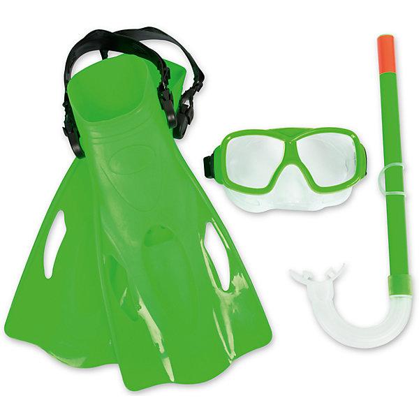 Набор для ныряния SureSwim подростковый, Bestway, зеленыйОчки, маски, ласты, шапочки<br>Характеристики товара:<br><br>• возраст от 7 лет;<br>• материал: пластик, поликарбонат, латекс;<br>• в комплекте: маска, трубка, ласты;<br>• размер ласт 39-42;<br>• размер упаковки 41х11х21 см;<br>• вес упаковки 614 гр.;<br>• страна производитель: Китай.<br><br>Набор для ныряния Bestway SureSwim зеленый позволит активно провести время. Набор включает в себя все необходимое для подводного плавания. Маска плотно прилегает к лицу, препятствуя попаданию воды в глаза. Линзы из поликарбоната обеспечивают хороший обзор. Ремешок настраивается под нужный размер. Трубка позволяет оставаться под водой длительное время. Загубник трубки может изменять положение. Ласты крепятся при помощи ремешка, который регулируется в зависимости от размера. <br><br>Набор для ныряния подростковый Bestway SureSwim зеленый можно приобрести в нашем интернет-магазине.<br><br>Ширина мм: 360<br>Глубина мм: 180<br>Высота мм: 115<br>Вес г: 614<br>Возраст от месяцев: 96<br>Возраст до месяцев: 168<br>Пол: Унисекс<br>Возраст: Детский<br>SKU: 5613191