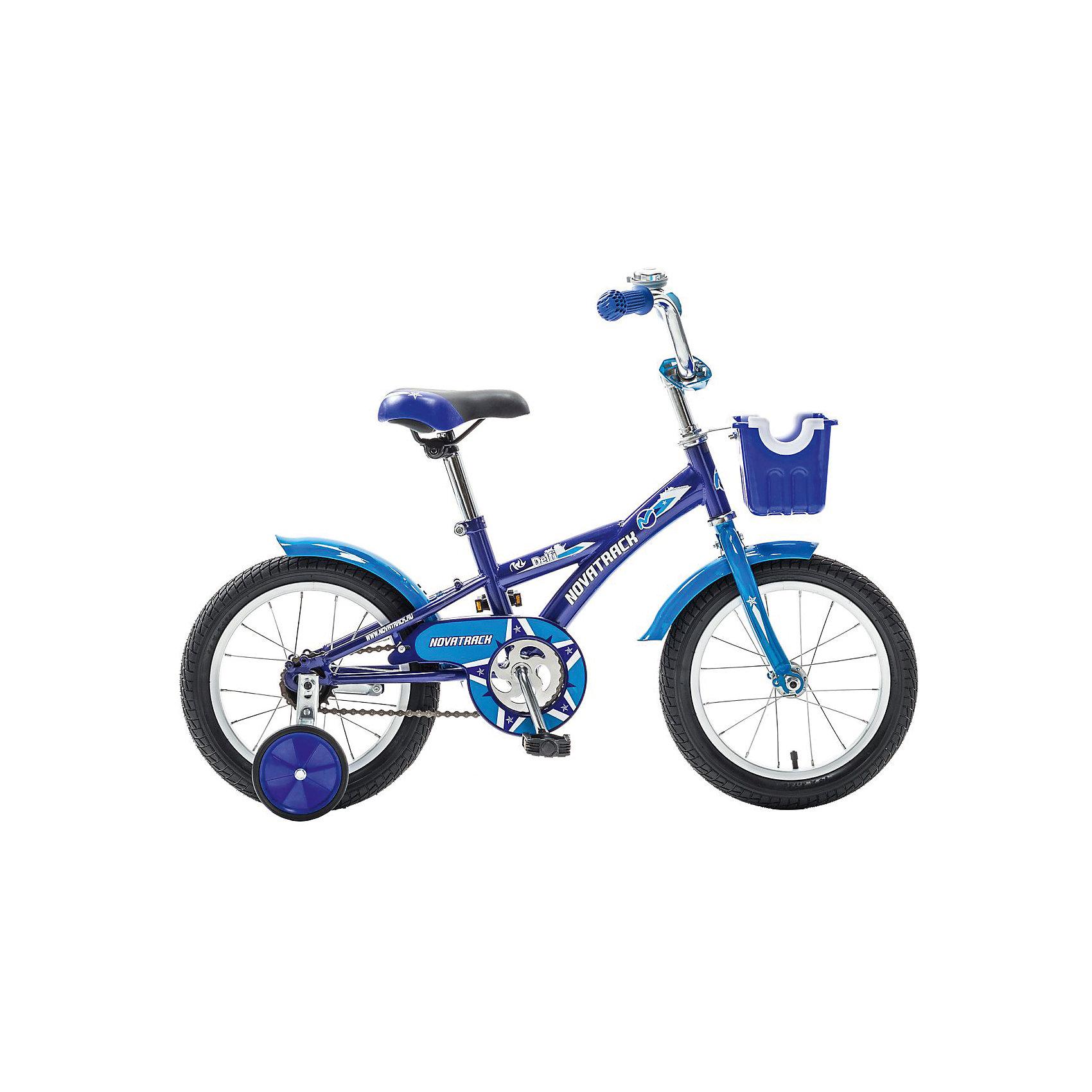 Велосипед Delfi, сине-голубой, 14 дюймов, NovatrackВелосипеды детские<br>Велосипед Novatrack Delfi c 14-дюймовыми колесами – это надежный велосипед для ребят от 3 до 5 лет. Привлекательный дизайн, надежная сборка, легкость и отличная управляемость – это еще не все плюсы данной модели. Велосипед Delfi снабжен ограничителем поворота руля, который не позволит ребенку слишком сильно вывернуть переднее колесо велосипеда, и тем самым предотвратит падения. Цепь закрыта декоративной накладкой, которая защитит одежду и ноги ребенка от попадания в механизм. Данная модель специально разработана для легкого обучения езде на велосипеде. Низкая рама позволит ребенку быстро взбираться и слезать с велосипеда. Колеса закрыты крыльями, которые защитят ребенка от брызг, а на руле располагается вместительная корзинка для перевозки самых необходимых в дороге предметов.<br><br>Ширина мм: 810<br>Глубина мм: 185<br>Высота мм: 410<br>Вес г: 11000<br>Возраст от месяцев: 48<br>Возраст до месяцев: 72<br>Пол: Унисекс<br>Возраст: Детский<br>SKU: 5613201