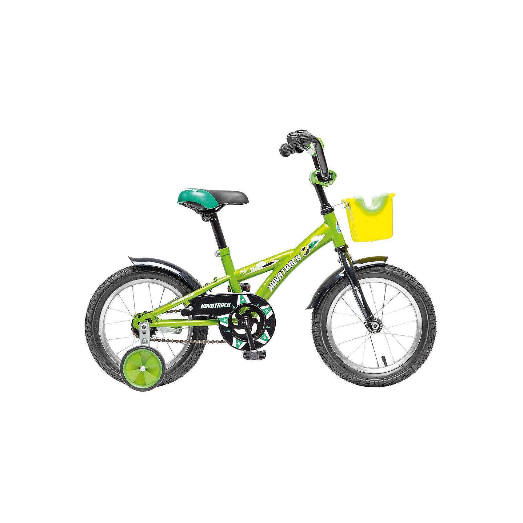 Велосипед Delfi, салатово-черный, 14 дюймов, NovatrackВелосипеды детские<br>Велосипед Novatrack Delfi c 14-дюймовыми колесами – это надежный велосипед для ребят от 3 до 5 лет. Привлекательный дизайн, надежная сборка, легкость и отличная управляемость – это еще не все плюсы данной модели. Велосипед Delfi снабжен ограничителем поворота руля, который не позволит ребенку слишком сильно вывернуть переднее колесо велосипеда, и тем самым предотвратит падения. Цепь закрыта декоративной накладкой, которая защитит одежду и ноги ребенка от попадания в механизм. Данная модель специально разработана для легкого обучения езде на велосипеде. Низкая рама позволит ребенку быстро взбираться и слезать с велосипеда. Колеса закрыты крыльями, которые защитят ребенка от брызг, а на руле располагается вместительная корзинка для перевозки самых необходимых в дороге предметов.<br><br>Ширина мм: 810<br>Глубина мм: 185<br>Высота мм: 410<br>Вес г: 11000<br>Возраст от месяцев: 48<br>Возраст до месяцев: 72<br>Пол: Унисекс<br>Возраст: Детский<br>SKU: 5613202
