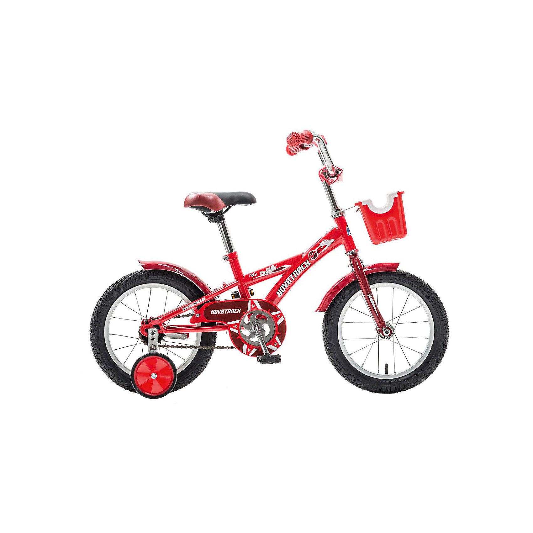 Велосипед Delfi, красно-бордовый, 14 дюймов, NovatrackВелосипеды детские<br>Велосипед Novatrack Delfi c 14-дюймовыми колесами – это надежный велосипед для ребят от 3 до 5 лет. Привлекательный дизайн, надежная сборка, легкость и отличная управляемость – это еще не все плюсы данной модели. Велосипед Delfi снабжен ограничителем поворота руля, который не позволит ребенку слишком сильно вывернуть переднее колесо велосипеда, и тем самым предотвратит падения. Цепь закрыта декоративной накладкой, которая защитит одежду и ноги ребенка от попадания в механизм. Данная модель специально разработана для легкого обучения езде на велосипеде. Низкая рама позволит ребенку быстро взбираться и слезать с велосипеда. Колеса закрыты крыльями, которые защитят ребенка от брызг, а на руле располагается вместительная корзинка для перевозки самых необходимых в дороге предметов.<br><br>Велосипед Delfi, красно-бордовый, 14 дюймов, Novatrack можно купить в нашем интернет-магазине.<br><br>Ширина мм: 810<br>Глубина мм: 185<br>Высота мм: 410<br>Вес г: 11000<br>Возраст от месяцев: 48<br>Возраст до месяцев: 72<br>Пол: Унисекс<br>Возраст: Детский<br>SKU: 5613203