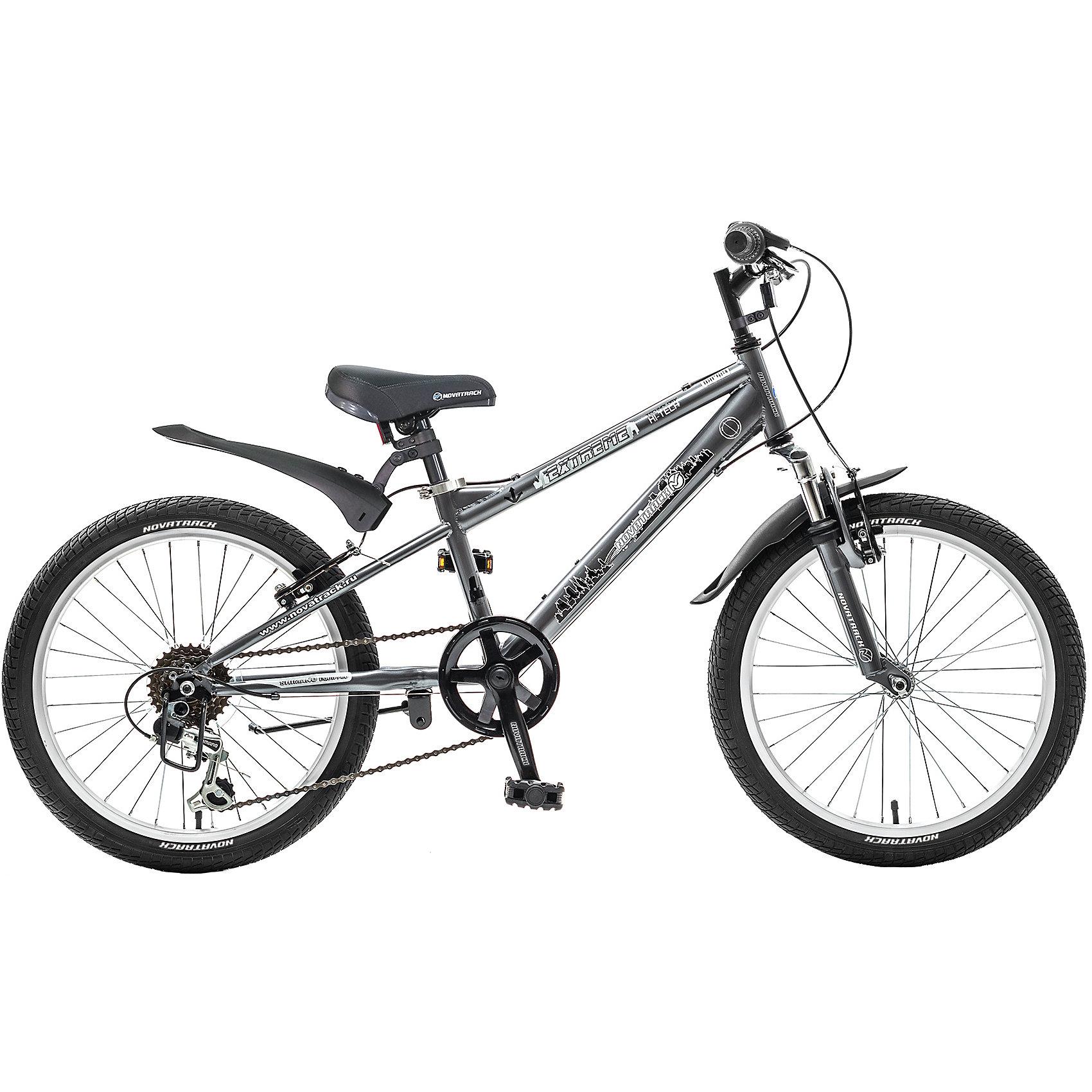 Велосипед EXTREME, тёмно-серый, 20 дюймов, NovatrackВелосипеды детские<br>Novatrack Extreme 20'' – это безопасный и надежный велосипед для мальчиков 6-8 лет, который поможет освоить азы катания на скоростном велосипеде. 20 дюймовые колеса уже отличают эту модель от велосипедов, на которых катаются дошколята. Велосипед оснащен 6-скоростной системой переключения передач, амортизационной вилкой, передним ручным тормозом, регулируемым сидением и рулем, для обеспечения удобной посадки. Велосипед достаточно легкий, поэтому ребенок сможет самостоятельно его транспортировать из дома во двор. Extreme 20'' предназначен для активной езды и готов к любым испытаниям на детской площадке, в парке и других местах, пригодных для катания.<br><br>Велосипед EXTREME, тёмно-серый, 20 дюйма, Novatrack можно купить в нашем интернет-магазине.<br><br>Ширина мм: 1100<br>Глубина мм: 180<br>Высота мм: 520<br>Вес г: 14000<br>Возраст от месяцев: 84<br>Возраст до месяцев: 120<br>Пол: Унисекс<br>Возраст: Детский<br>SKU: 5613205