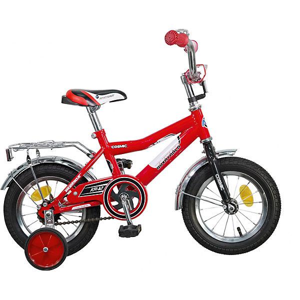 Велосипед COSMIC, красный, 12 дюймов, NovatrackВелосипеды детские<br>Велосипед Novatrack Cosmic 12'' – это абсолютно необходимая вещь для детей 2-4 лет. В этом возрасте у ребят очень большой уровень энергии, которую необходимо выплескивать с пользой для организма, да и кто же по доброй воле откажется от велосипеда, тем более такого, как Cosmic! Велосипед полностью укомплектован и обязательно понравится маленькому велосипедисту. Рама у велосипеда – стальная и очень прочная. Сиденье и руль регулируются по высоте и надежно фиксируются. Ножной задний тормоз не подведет ни на спуске, ни при экстренном торможении. В целях безопасности велосипед оснащен ограничителем руля, который убережет велосипед от опрокидывания при резком повороте. Дополнительную устойчивость железному «коню» обеспечивают два маленьких съемных колеса в цвет велосипеда. Не останутся незамеченными накладка на руль, яркие отражатели-катафоты, стильный звонок, защитный кожух для цепи, хромированный багажник, а также крылья, которые защитят от грязи и брызг.<br>Ширина мм: 810; Глубина мм: 185; Высота мм: 410; Вес г: 94000; Возраст от месяцев: 36; Возраст до месяцев: 60; Пол: Унисекс; Возраст: Детский; SKU: 5613206;