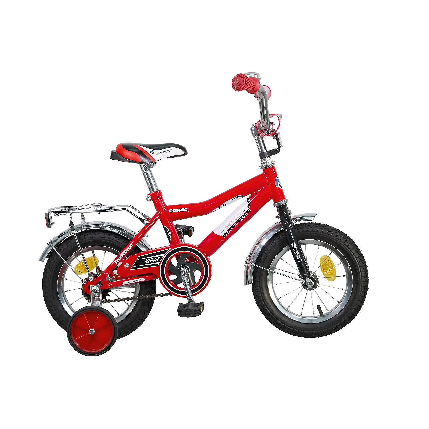 Велосипед COSMIC, красный, 12 дюймов, NovatrackВелосипеды детские<br>Велосипед Novatrack Cosmic 12'' – это абсолютно необходимая вещь для детей 2-4 лет. В этом возрасте у ребят очень большой уровень энергии, которую необходимо выплескивать с пользой для организма, да и кто же по доброй воле откажется от велосипеда, тем более такого, как Cosmic! Велосипед полностью укомплектован и обязательно понравится маленькому велосипедисту. Рама у велосипеда – стальная и очень прочная. Сиденье и руль регулируются по высоте и надежно фиксируются. Ножной задний тормоз не подведет ни на спуске, ни при экстренном торможении. В целях безопасности велосипед оснащен ограничителем руля, который убережет велосипед от опрокидывания при резком повороте. Дополнительную устойчивость железному «коню» обеспечивают два маленьких съемных колеса в цвет велосипеда. Не останутся незамеченными накладка на руль, яркие отражатели-катафоты, стильный звонок, защитный кожух для цепи, хромированный багажник, а также крылья, которые защитят от грязи и брызг.<br><br>Ширина мм: 810<br>Глубина мм: 185<br>Высота мм: 410<br>Вес г: 94000<br>Возраст от месяцев: 36<br>Возраст до месяцев: 60<br>Пол: Унисекс<br>Возраст: Детский<br>SKU: 5613206