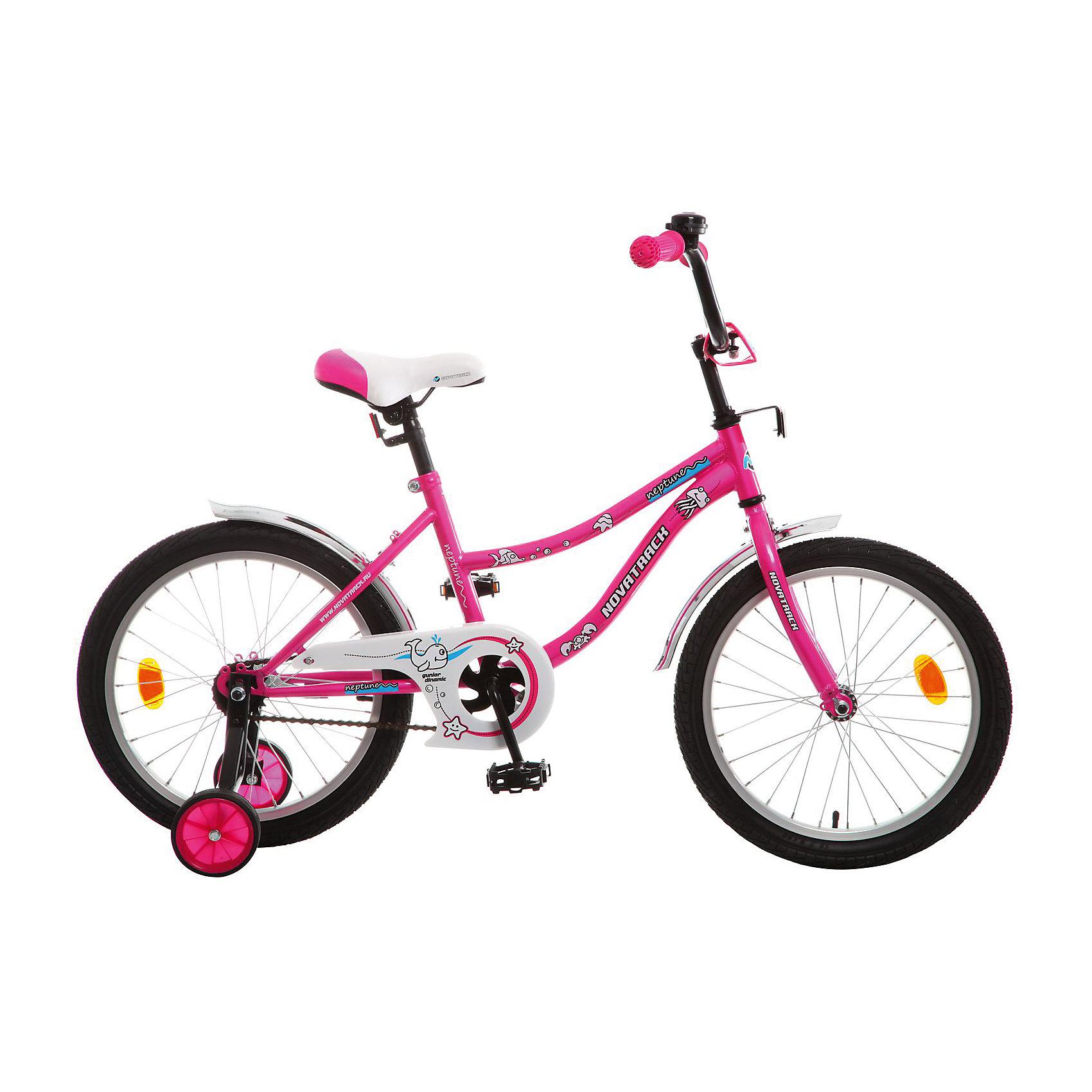 Велосипед NEPTUNE, розовый, 18 дюймов, NovatrackВелосипеды детские<br>Характеристики товара:<br><br>• цвет: розовый<br>• возраст: от 6 лет<br>• стальная рама<br>• мягкое регулируемое по высоте седло<br>• руль регулируется по высоте<br>• диаметр колес: 18 дюймов<br>• ножной задний тормоз<br>• два маленьких съемных колеса<br>• защита цепи не позволит одежде попасть в механизм<br>• крылья защитят от грязи и брызг<br>• велосипедный звонок<br>• мягкие накладки на руле<br>• катафоты<br><br>Novatrack Neptun 18'' – это отличный подарок для девочки. Привлекательный дизайн, легкость, отличная управляемость и универсальность - в этой модели есть все! <br><br>Novatrack Neptun 18'' полностью подготовлен для того, чтобы маленьким велосипедистам было комфортно и интересно учиться самостоятельно кататься. <br><br>Велосипед NEPTUNE, розовый, 18 дюймов, Novatrack можно купить в нашем интернет-магазине.<br><br>Ширина мм: 980<br>Глубина мм: 180<br>Высота мм: 480<br>Вес г: 13000<br>Возраст от месяцев: 72<br>Возраст до месяцев: 108<br>Пол: Унисекс<br>Возраст: Детский<br>SKU: 5613207