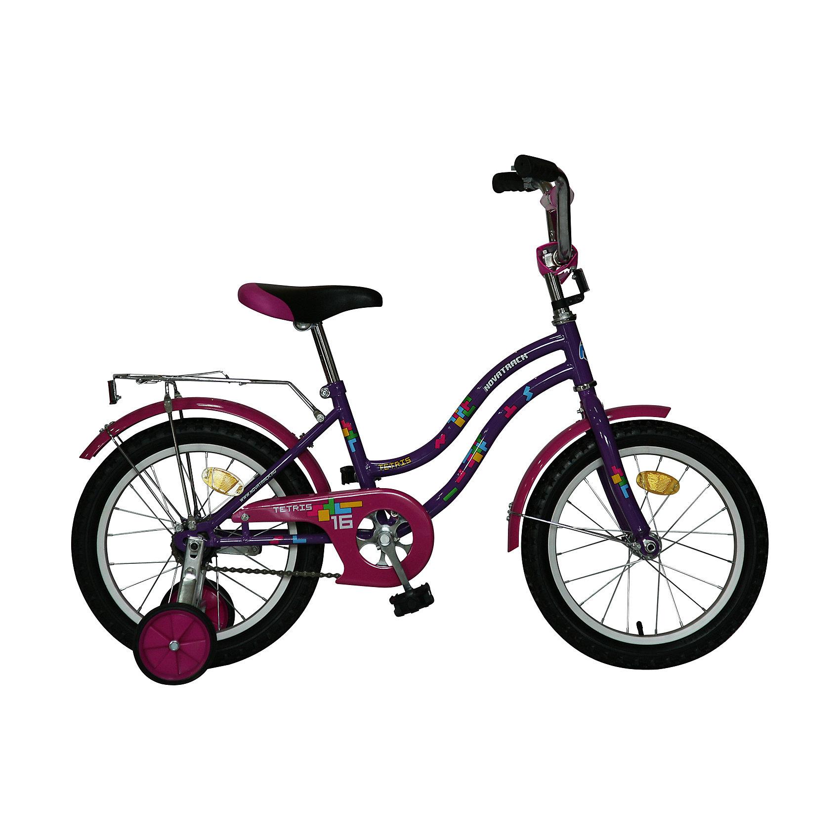 Велосипед TETRIS, фиолетовый, 16 дюймов, NovatrackВелосипеды детские<br>Хотите, чтобы ваш ребенок как можно быстрее научился кататься на велосипеде? Тогда вам подойдет новинка - Novatrack Tetris 16, предназначенный для детей 5-7 лет. Его универсальная легкая и прочная рама подойдет как мальчикам, так и девочкам. Привлекательный дизайн, надежная сборка, легкость и отличная управляемость – это еще не все плюсы данной модели. Обратите внимание на багажник с зажимом – обязательный атрибут любого детского велосипеда, ведь как же еще перевозить свои игрушки и другие нужные мелочи во время прогулок? Для комфортных поездок по сложной трассе либо по пересеченной местности велосипед оборудован двумя дополнительными съемными колесами, благодаря которым маленький наездник будет чувствовать себя увереннее. Ножной тормоз позволит бытро затормозить в случае необходимости. А крылья в цвет велосипеда защитят ребенка от брызг во время езды.<br><br>Ширина мм: 900<br>Глубина мм: 180<br>Высота мм: 420<br>Вес г: 12000<br>Возраст от месяцев: 60<br>Возраст до месяцев: 84<br>Пол: Унисекс<br>Возраст: Детский<br>SKU: 5613208