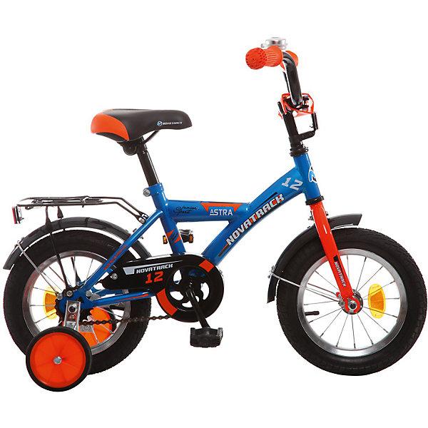 Велосипед ASTRA, синий, 12 дюймов, NovatrackВелосипеды детские<br>Характеристики товара:<br><br>• цвет: синий<br>• возраст: от 2 лет<br>• стальная рама<br>• мягкое регулируемое по высоте седло<br>• руль регулируется по высоте<br>• ограничитель поворота руля<br>• диаметр колес: 12 дюймов<br>• ножной задний тормоз<br>• два маленьких съемных колеса<br>• защита цепи не позволит одежде попасть в механизм<br>• крылья защитят от грязи и брызг<br>• мягкие накладки на руле<br>• звонок<br>• багажник<br>• вес: 8,3 кг<br><br>Одного взгляда хватит, чтобы раз и навсегда влюбиться в свой новенький двухколесный велосипед ASTRA Novatrack. Данная модель маневренна и легко управляется, поэтому ребенку будет несложно и интересно учиться езде.<br><br>Велосипед ASTRA, синий, 12 дюймов, Novatrack можно купить в нашем интернет-магазине.<br>Ширина мм: 810; Глубина мм: 185; Высота мм: 410; Вес г: 8500; Возраст от месяцев: 36; Возраст до месяцев: 60; Пол: Унисекс; Возраст: Детский; SKU: 5613209;