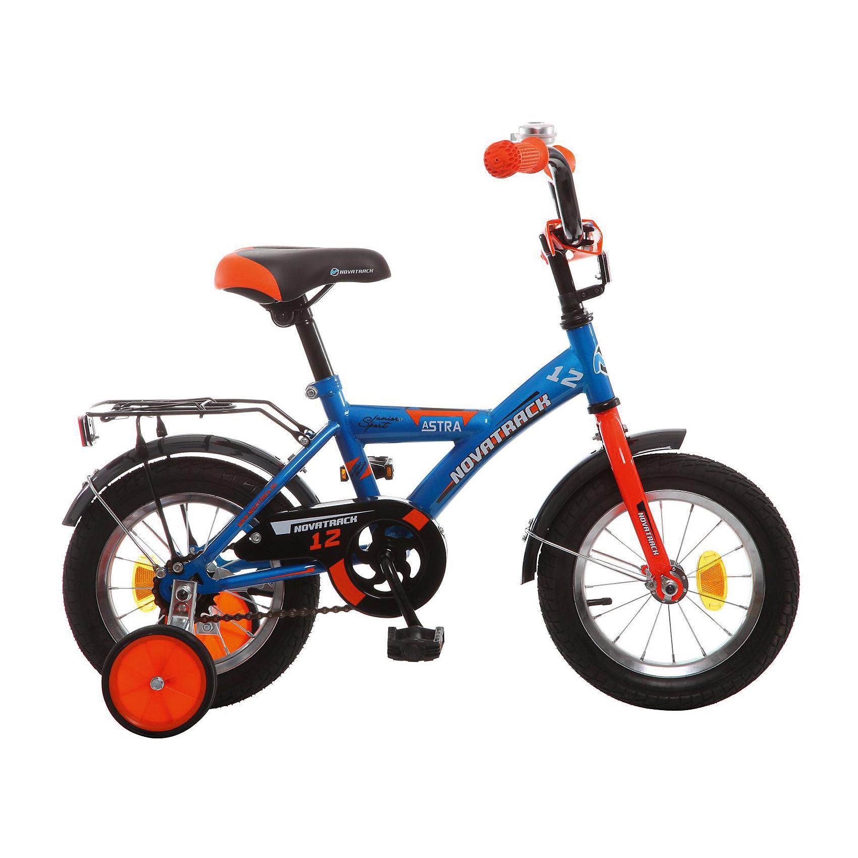 Велосипед ASTRA, синий, 12 дюймов, NovatrackВелосипеды детские<br>Характеристики товара:<br><br>• цвет: синий<br>• возраст: от 2 лет<br>• стальная рама<br>• мягкое регулируемое по высоте седло<br>• руль регулируется по высоте<br>• ограничитель поворота руля<br>• диаметр колес: 12 дюймов<br>• ножной задний тормоз<br>• два маленьких съемных колеса<br>• защита цепи не позволит одежде попасть в механизм<br>• крылья защитят от грязи и брызг<br>• мягкие накладки на руле<br>• звонок<br>• багажник<br>• вес: 8,3 кг<br><br>Одного взгляда хватит, чтобы раз и навсегда влюбиться в свой новенький двухколесный велосипед ASTRA Novatrack. Данная модель маневренна и легко управляется, поэтому ребенку будет несложно и интересно учиться езде.<br><br>Велосипед ASTRA, синий, 12 дюймов, Novatrack можно купить в нашем интернет-магазине.<br><br>Ширина мм: 810<br>Глубина мм: 185<br>Высота мм: 410<br>Вес г: 95000<br>Возраст от месяцев: 36<br>Возраст до месяцев: 60<br>Пол: Унисекс<br>Возраст: Детский<br>SKU: 5613209