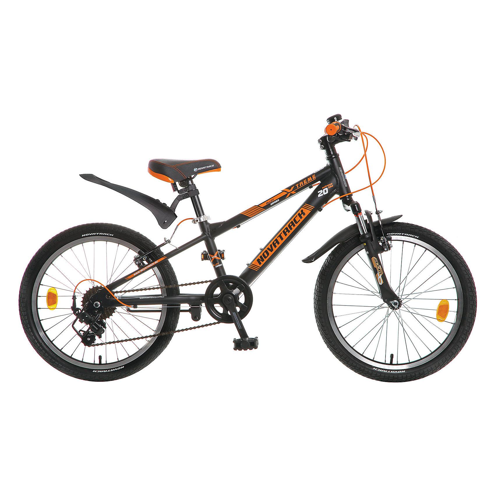 Велосипед Extreme, черно-оранжевый, 20 дюймов, NovatrackВелосипеды детские<br>Характеристики товара:<br><br>• цвет: черный, оранжевый<br>• возраст: 7-10 лет<br>• стальная рама<br>• мягкое регулируемое по высоте седло<br>• руль регулируется по высоте<br>• диаметр колес: 20 дюйма<br>• ручной тормоз<br>• ножной тормоз <br>• передний и задний амортизаторы<br>• 7 скоростей<br>• мягкие накладки на руле<br><br>Novatrack Extreme 20'' – это безопасный и надежный велосипед для мальчиков 7-10 лет, который поможет освоить азы катания на скоростном велосипеде. <br><br>20 дюймовые колеса уже отличают эту модель от велосипедов, на которых катаются дошколята. Велосипед оснащен 7-скоростной системой переключения передач, амортизационной вилкой, передним ручным тормозом, регулируемым сидением и рулем, для обеспечения удобной посадки. Велосипед достаточно легкий, поэтому ребенок сможет самостоятельно его транспортировать из дома во двор. <br><br>Extreme 20'' предназначен для активной езды и готов к любым испытаниям на детской площадке, в парке и других местах, пригодных для катания.<br><br>Велосипед Extreme, черно-оранжевый, 20 дюймов, Novatrack можно купить в нашем интернет-магазине.<br><br>Ширина мм: 1100<br>Глубина мм: 180<br>Высота мм: 520<br>Вес г: 14000<br>Возраст от месяцев: 84<br>Возраст до месяцев: 120<br>Пол: Унисекс<br>Возраст: Детский<br>SKU: 5613210