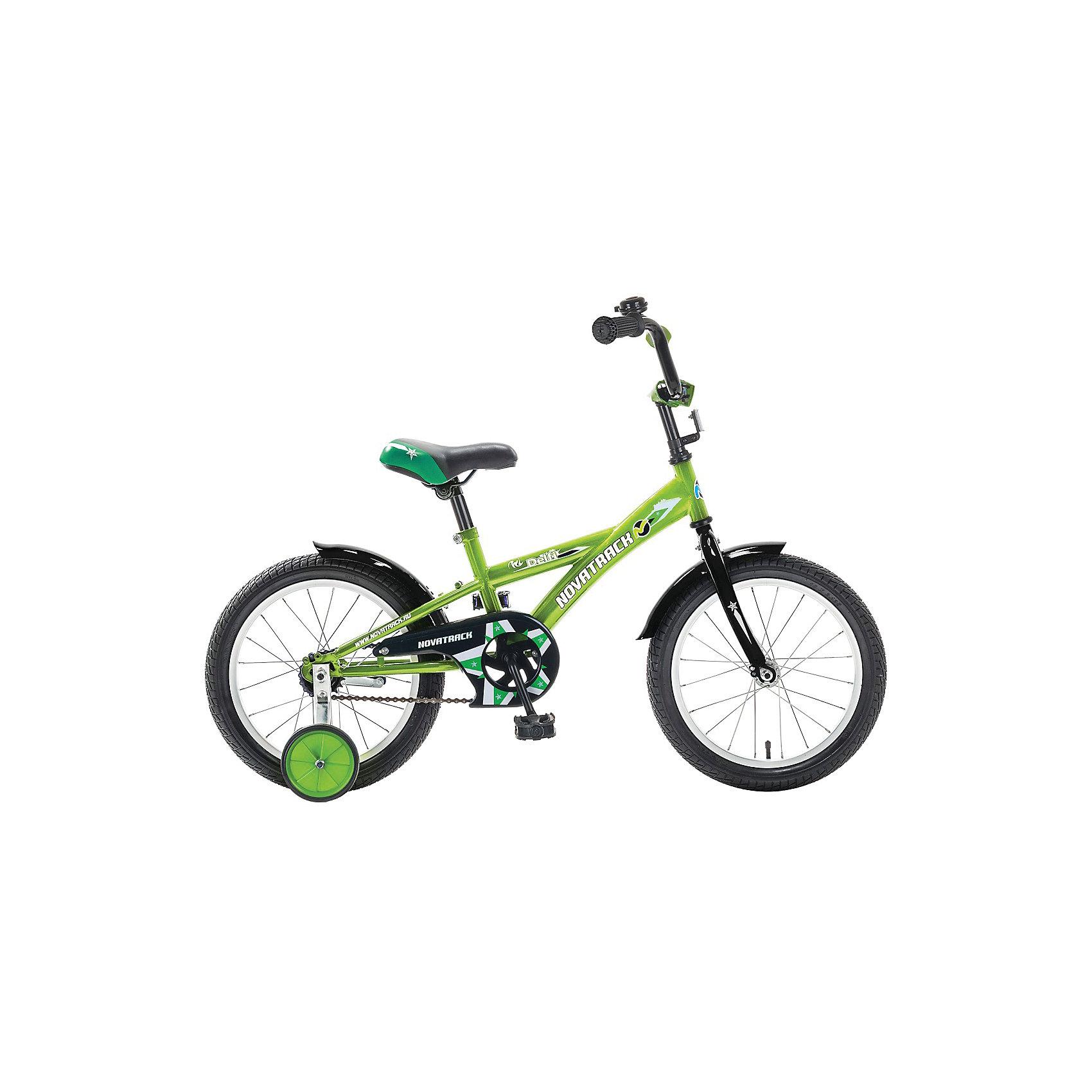 Велосипед Delfi, салатово-черный, 16 дюймов, NovatrackВелосипеды детские<br>Велосипед Novatrack Delfi c 18-дюймовыми колесами – это надежный велосипед для ребят от 6 до 9 лет. Привлекательный дизайн, надежная сборка, легкость и отличная управляемость – это еще не все плюсы данной модели. Цепь закрыта декоративной накладкой, которая защитит одежду и ноги ребенка от попадания в механизм. Данная модель специально разработана для легкого обучения езде на велосипеде. Низкая рама позволит ребенку быстро взбираться и слезать с велосипеда. Колеса закрыты крыльями, которые защитят ребенка от брызг. Велосипед оснащен дополнительными колесами, которые легко регулируются и снимаются в случае необходимости, а также ручным и ножным тормозами для наилучшего торможения.<br><br>Ширина мм: 980<br>Глубина мм: 180<br>Высота мм: 480<br>Вес г: 13000<br>Возраст от месяцев: 72<br>Возраст до месяцев: 108<br>Пол: Унисекс<br>Возраст: Детский<br>SKU: 5613211