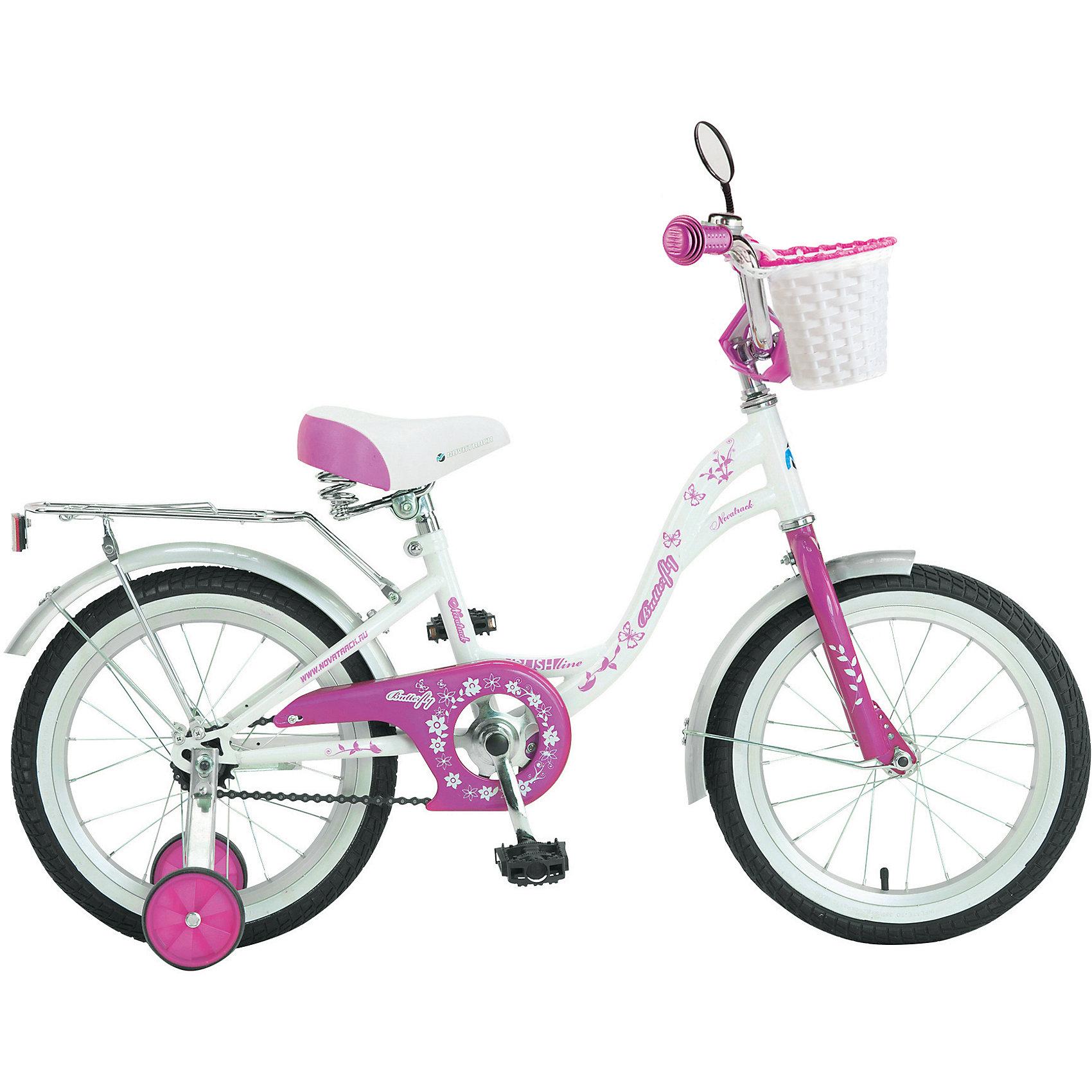 Велосипед BUTTERFLY, бело-розовый, 16 дюймов, NovatrackВелосипеды детские<br>Велосипед Novatrack Butterfly 16это велосипед для юных принцесс 5-7 лет. Эта модель оснащена всем необходимым, для того, чтобы ребенок мог отправиться в увлекательное путешествие. Во-первых, на руле имеется зеркальце. А как без него юной леди Ей же нужно быть уверенной в том, что бантик на голове смотрится отлично Во-вторых, там же установлен великолепный гудок в стиле ретро, при помощи которого маленькая велосипедистка сможет вовремя сообщить зазевавшимся карапузам, что она тут катается. В-третьих, впереди прикреплена вместительная корзинка, куда можно сложить все необходимое. Для устойчивости конструкции к заднему колесу добавлены еще 2 маленьких съемных колесикаупасть с такого велосипеда практически невозможно даже на крутом вираже. Сиденье и руль легко регулируются по высоте и надежно фиксируются. Для безопасности также установлена защита цепи, а на колесах имеются крылья и катафоты. Велосипед оборудованзадним ножным тормозом, позволяющими при необходимости мгновенно остановиться.<br><br>Велосипед BUTTERFLY, бело-розовый, 16 дюймов, Novatrack можно купить в нашем интернет-магазине.<br><br>Ширина мм: 900<br>Глубина мм: 180<br>Высота мм: 420<br>Вес г: 12000<br>Возраст от месяцев: 60<br>Возраст до месяцев: 84<br>Пол: Женский<br>Возраст: Детский<br>SKU: 5613212