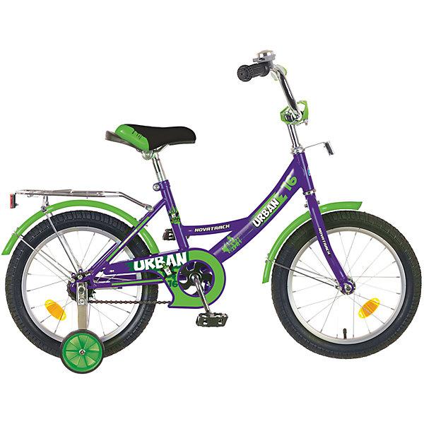 Велосипед URBAN, фиолетовый, 16 дюймов, NovatrackВелосипеды детские<br>Велосипед Novatrack Urban c 16-дюймовыми колесамиэто надежный велосипед для ребят от 4 лет. Высокое качество сборки гарантирует, что велосипед прослужит долго, даже если ваш ребенок будет гонять на нем ежедневно по несколько часов подряд. Велосипед оснащен защитой цепи, которая не позволит ногам и одежде попасть в мезанизм. Еще одно средство, способствующее безопасному вождению велосипеда в любых дорожных условияхограничитель поворота руля. который не позволит маленькому велосипедисту слишком сильно повернуть руль и таким образом создать себе все условия для неминуемого падения. Да и учиться ездить с таким приспособлением гораздо удобнее, ведь руль не крутится вокруг своей оси, а значит, и двигаться велосипед будет аккуратно и всегда именно туда, куда нужно. Велосипед оборудован багажникомобязательным атрибутом любого детского велосипеда, ведь как же еще перевозить свои игрушки и другие нужные мелочи во время прогулок Для безопасности установлено целых 4 светоотражателязадний, передний и по одному на каждом из основных колес. Колеса закрыты крыльями, которые защитят маленького наездника от грязи и брызг. А ножной тормоз позволит быстро остановиться, в случае необходимости.<br>Ширина мм: 900; Глубина мм: 180; Высота мм: 420; Вес г: 12000; Возраст от месяцев: 60; Возраст до месяцев: 84; Пол: Унисекс; Возраст: Детский; SKU: 5613213;