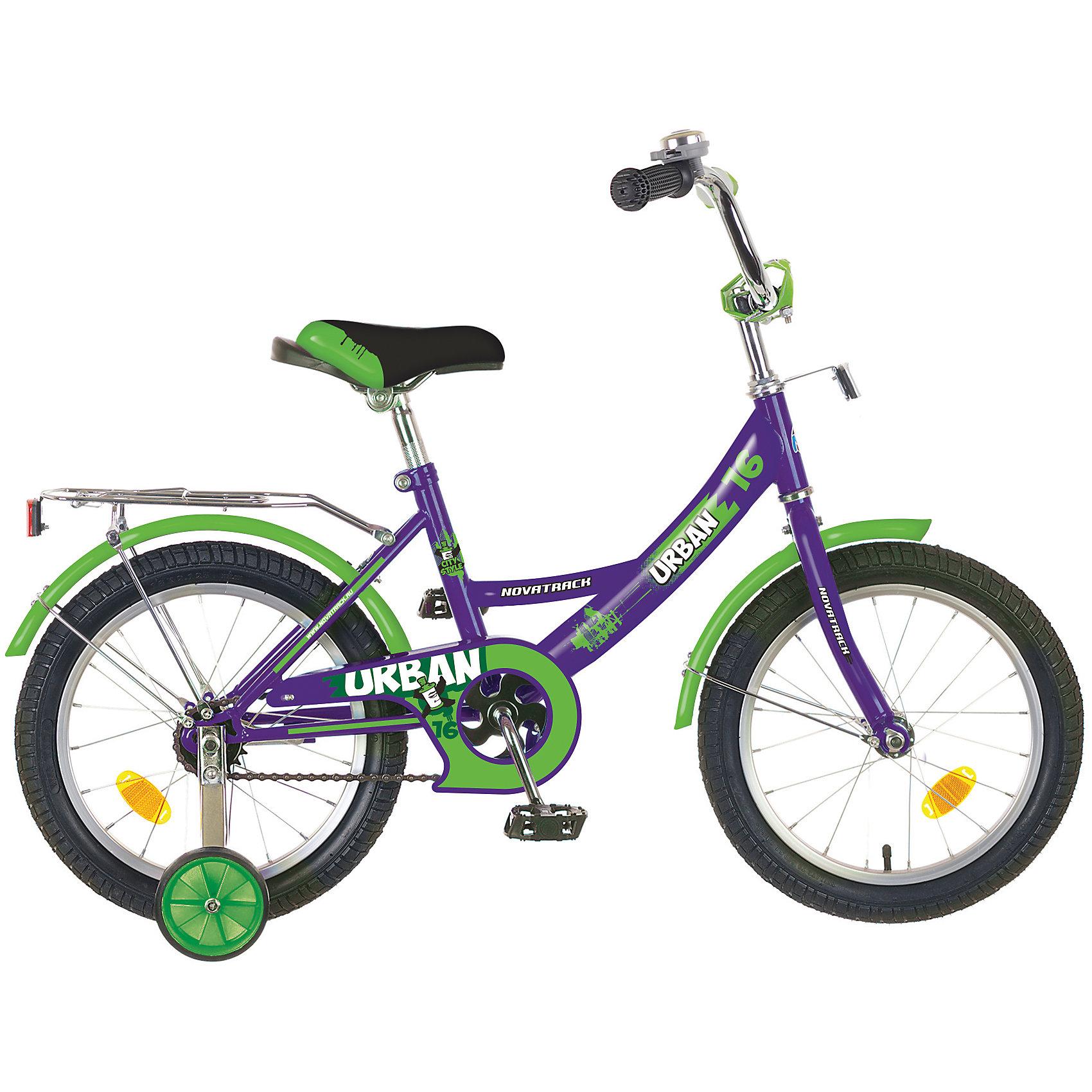 Велосипед URBAN, фиолетовый, 16 дюймов, NovatrackВелосипеды детские<br>Велосипед Novatrack Urban c 16-дюймовыми колесамиэто надежный велосипед для ребят от 4 лет. Высокое качество сборки гарантирует, что велосипед прослужит долго, даже если ваш ребенок будет гонять на нем ежедневно по несколько часов подряд. Велосипед оснащен защитой цепи, которая не позволит ногам и одежде попасть в мезанизм. Еще одно средство, способствующее безопасному вождению велосипеда в любых дорожных условияхограничитель поворота руля. который не позволит маленькому велосипедисту слишком сильно повернуть руль и таким образом создать себе все условия для неминуемого падения. Да и учиться ездить с таким приспособлением гораздо удобнее, ведь руль не крутится вокруг своей оси, а значит, и двигаться велосипед будет аккуратно и всегда именно туда, куда нужно. Велосипед оборудован багажникомобязательным атрибутом любого детского велосипеда, ведь как же еще перевозить свои игрушки и другие нужные мелочи во время прогулок Для безопасности установлено целых 4 светоотражателязадний, передний и по одному на каждом из основных колес. Колеса закрыты крыльями, которые защитят маленького наездника от грязи и брызг. А ножной тормоз позволит быстро остановиться, в случае необходимости.<br><br>Ширина мм: 900<br>Глубина мм: 180<br>Высота мм: 420<br>Вес г: 12000<br>Возраст от месяцев: 60<br>Возраст до месяцев: 84<br>Пол: Унисекс<br>Возраст: Детский<br>SKU: 5613213