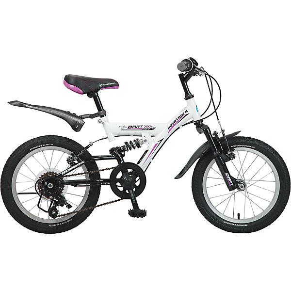 Велосипед DART, белый, 16 дюймов, NovatrackВелосипеды детские<br>Характеристики товара:<br><br>• цвет: белый<br>• возраст: от 5 лет<br>• стальная рама<br>• мягкое регулируемое по высоте седло<br>• руль регулируется по высоте<br>• диаметр колес: 16 дюймов<br>• надежные тормоза типа V-brake<br>• передний и задний амортизаторы<br>• 5 скоростей<br>• крылья защитят от грязи и брызг<br>• мягкие накладки на руле<br><br>Велосипед Novatrack Dart 16 - это стильный и маневренный велик, который понравится его обладателю.<br><br>Передний и задний амортизаторы, как на больших спортивных велосипедах, переключатель скоростей на руле, целых два тормозапередний и задний, которыми, как показывает практика, дети быстро учатся управлять. <br><br>Велосипед оборудован мягким регулируемым седлом, которое обеспечит удобную посадку во время катания. Руль велосипеда также регулируется по высоте, благодаря чему велосипед долго будет соответствовать росту ребенка. <br><br>Велосипед Novatrack Dart 16 оборудован 5-скоростной системой и подходит для катания не только во дворе, но и в парках, а также за городом.<br><br>Велосипед DART, белый, 16 дюймов, Novatrack можно купить в нашем интернет-магазине.<br>Ширина мм: 900; Глубина мм: 180; Высота мм: 420; Вес г: 12000; Возраст от месяцев: 60; Возраст до месяцев: 84; Пол: Унисекс; Возраст: Детский; SKU: 5613214;