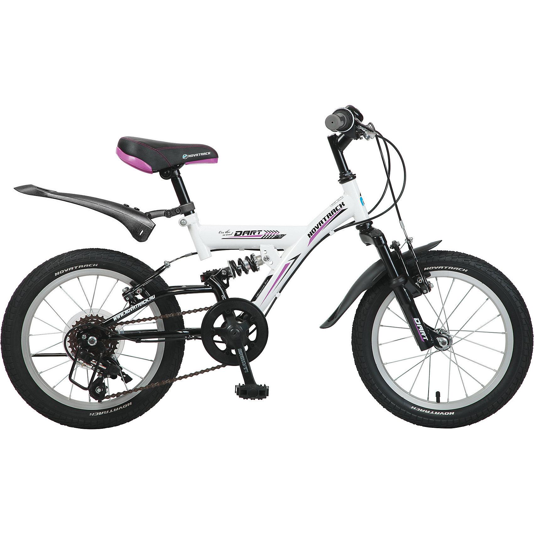 Велосипед DART, белый, 16 дюймов, NovatrackВелосипеды детские<br>Велосипед Novatrack Dart 16 это один из велосипедов, который чаще всего выбирают для ребят 5-7 лет. А в этом возрасте они уже четко знают, чего хотят Передний и задний амортизаторы, как на больших спортивных велосипедах, переключатель скоростей на руле, целых два тормозапередний и задний, которыми, как показывает практика, дети быстро учатся управлять. Велосипед оборудован мягким регулируемым седлом, которое обеспечит удобную посадку во время катания. Руль велосипеда также регулируется по высоте, благодаря чему велосипед долго будет соответствовать росту ребенка. Велосипед Novatrack Dart 16 оборудован 5-скоростной системой и подходит для катания не только во дворе, но и в парках, а также за городом.<br><br>Велосипед DART, белый, 16 дюймов, Novatrack можно купить в нашем интернет-магазине.<br><br>Ширина мм: 900<br>Глубина мм: 180<br>Высота мм: 420<br>Вес г: 12000<br>Возраст от месяцев: 60<br>Возраст до месяцев: 84<br>Пол: Унисекс<br>Возраст: Детский<br>SKU: 5613214