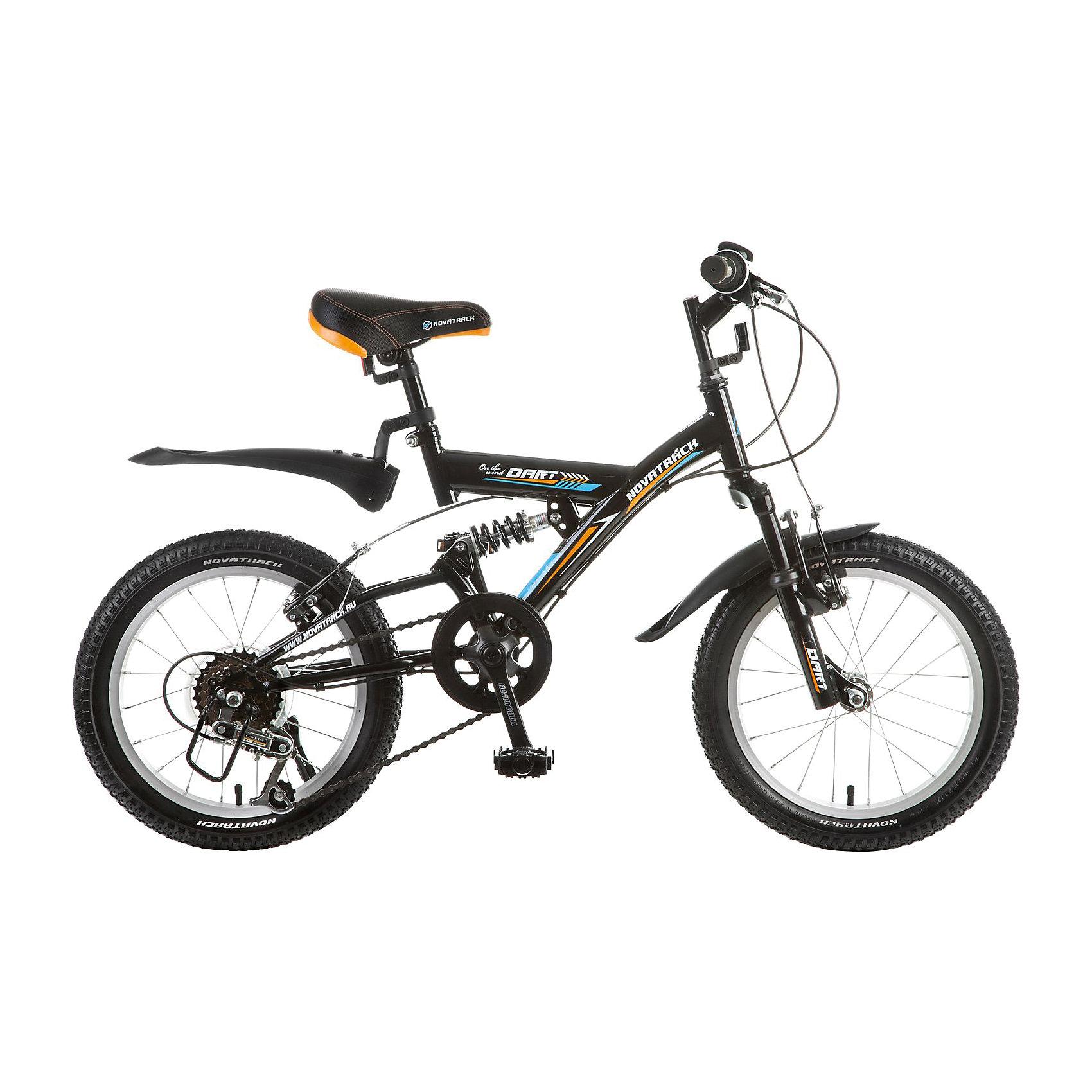 Велосипед DART, черный, 16 дюймов, NovatrackВелосипеды детские<br>Велосипед Novatrack Dart 16 это один из велосипедов, который чаще всего выбирают для ребят 5-7 лет. А в этом возрасте они уже четко знают, чего хотят Передний и задний амортизаторы, как на больших спортивных велосипедах, переключатель скоростей на руле, целых два тормозапередний и задний, которыми, как показывает практика, дети быстро учатся управлять. Велосипед оборудован мягким регулируемым седлом, которое обеспечит удобную посадку во время катания. Руль велосипеда также регулируется по высоте, благодаря чему велосипед долго будет соответствовать росту ребенка. Велосипед Novatrack Dart 16 оборудован 5-скоростной системой и подходит для катания не только во дворе, но и в парках, а также за городом.<br><br>Ширина мм: 900<br>Глубина мм: 180<br>Высота мм: 420<br>Вес г: 12000<br>Возраст от месяцев: 72<br>Возраст до месяцев: 108<br>Пол: Унисекс<br>Возраст: Детский<br>SKU: 5613215