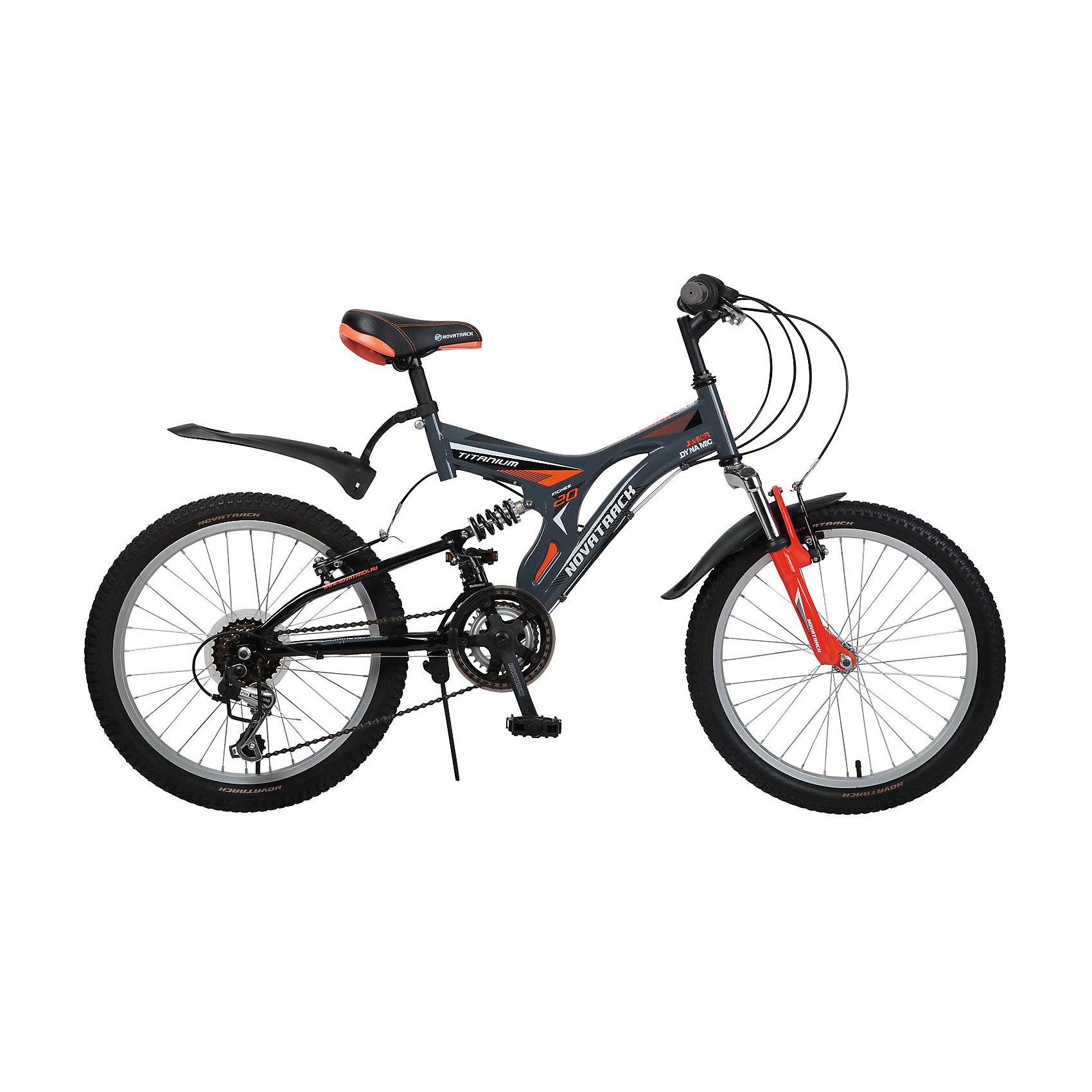 Велосипед TITANIUM, серый, 20 дюймов, NovatrackВелосипеды детские<br>Характеристики товара:<br><br>Цвет: Серый<br>Диаметр колеса: 20<br>Материал рамы: Сталь<br>Задний переключатель: Shimano TY-21<br>Передний переключатель: Shimano TZ-30<br>Тормоза: V-Brake <br>Вилка: Амортизирующая<br>Спицы: Сталь<br>Количество скоростей: 12<br>Обода: алюминиевые<br>Крылья: Пластик<br>Рама: Titanium<br>Вес велосипеда: 13.8 кг<br>Для детей 7-10 лет, на рост 122-134см<br><br>   Велосипед Novatrack Titaniun 20'' - это модель для ребят 7-10 лет, которые уже неодобрительно относится к детским велосипедам и засматриваются на большие горные велосипеды. На 20-дюймовых колесах можно кататься не только во дворе, но и по более сложным маршрутам – ухабистым парковым тропинкам, небольшим горкам, где езда без амортизаторов была бы не простой. Велосипед оснащен передним и задним ручным тормозом, которые при синхронной работе обеспечивают наилучшее торможение при спуске с наклонной поверхности, а одна из 12 скоростей помогает легко преодолеть сложный подъем. <br><br>Велосипед TITANIUM, серый, 20 дюймов, Novatrack можно купить в нашем интернет-магазине.<br><br>Ширина мм: 1100<br>Глубина мм: 180<br>Высота мм: 520<br>Вес г: 14000<br>Возраст от месяцев: 84<br>Возраст до месяцев: 120<br>Пол: Унисекс<br>Возраст: Детский<br>SKU: 5613216