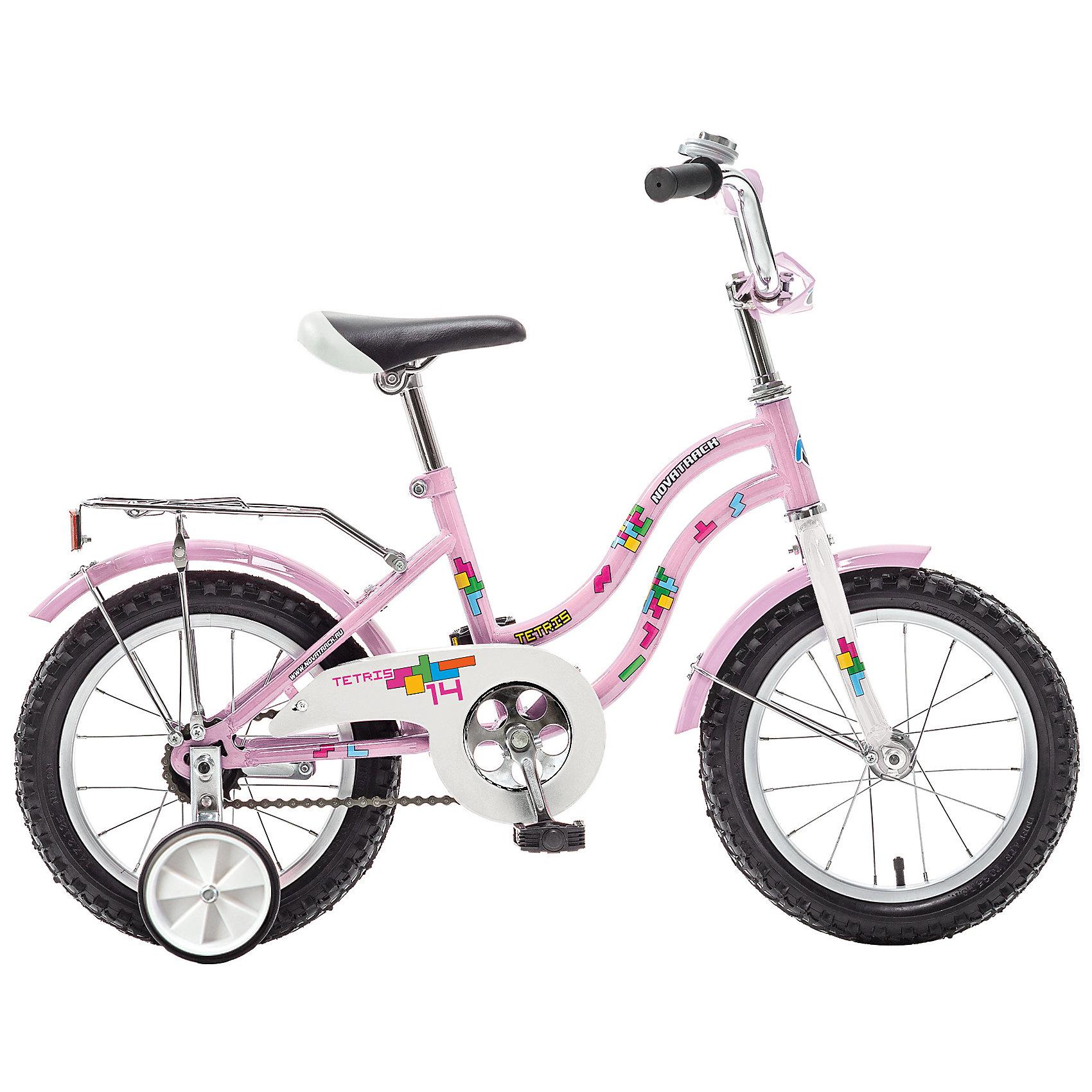 Велосипед TETRIS, розовый, 14 дюймов, NovatrackВелосипеды детские<br>Хотите, чтобы ваш ребенок как можно быстрее научился кататься на велосипеде? Тогда вам подойдет новинка - Novatrack Tetris 14, предназначенный для детей 3-5 лет. Его универсальная легкая и прочная рама подойдет как мальчикам, так и девочкам. Привлекательный дизайн, надежная сборка, легкость и отличная управляемость – это еще не все плюсы данной модели. Велосипед оснащен ограничителем поворота руля – специальной функцией, которая не позволит переднему колесу совершить поворот под большим углом, тем самым обезопасит от падения. Обратите внимание на багажник с зажимом – обязательный атрибут любого детского велосипеда, ведь как же еще перевозить свои игрушки и другие нужные мелочи во время прогулок? Для комфортных поездок по сложной трассе либо по пересеченной местности велосипед оборудован двумя дополнительными съемными колесами, благодаря которым маленький наездник будет чувствовать себя увереннее. Ножной тормоз позволит бытро затормозить в случае необходимости. А крылья в цвет велосипеда защитят ребенка от брызг во время езды.<br><br>Ширина мм: 810<br>Глубина мм: 185<br>Высота мм: 410<br>Вес г: 11000<br>Возраст от месяцев: 48<br>Возраст до месяцев: 72<br>Пол: Унисекс<br>Возраст: Детский<br>SKU: 5613218