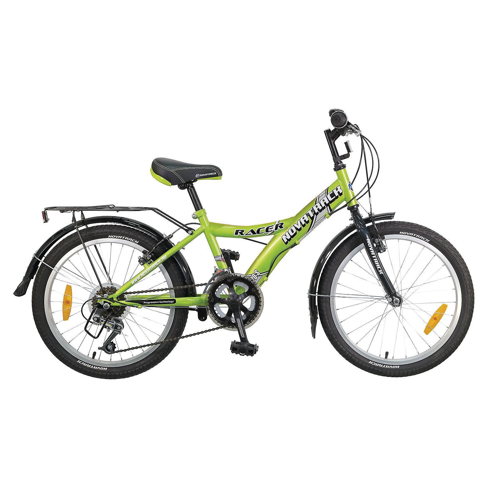 Велосипед RACER, зеленый, 20 дюймов, NovatrackВелосипеды детские<br>Велосипед Novatrack Racer 20'' – это один из лучших велосипедов для ребят 7-10 лет. Привлекательный дизайн, надежная сборка, легкость и отличная управляемость – это еще не все плюсы данной модели. Низкая рама разработана таким образом, что ребенку очень легко взбираться и слезать с велосипеда, да и спрыгивать тоже, в случае непредвиденных обстоятельств во время катания. Велосипед полностью укомплектован и обязательно понравится маленькому велосипедисту: тормоза типа V-brake, переключение скоростей, а их, между прочим, целых 6, багажник для перевозки небольших грузов, блестящие катафоты, агрессивные пластиковые крылья.<br><br>Велосипед RACER, зеленый, 20 дюймов, Novatrack можно купить в нашем интернет-магазине.<br><br>Ширина мм: 1100<br>Глубина мм: 180<br>Высота мм: 520<br>Вес г: 14000<br>Возраст от месяцев: 84<br>Возраст до месяцев: 120<br>Пол: Унисекс<br>Возраст: Детский<br>SKU: 5613221