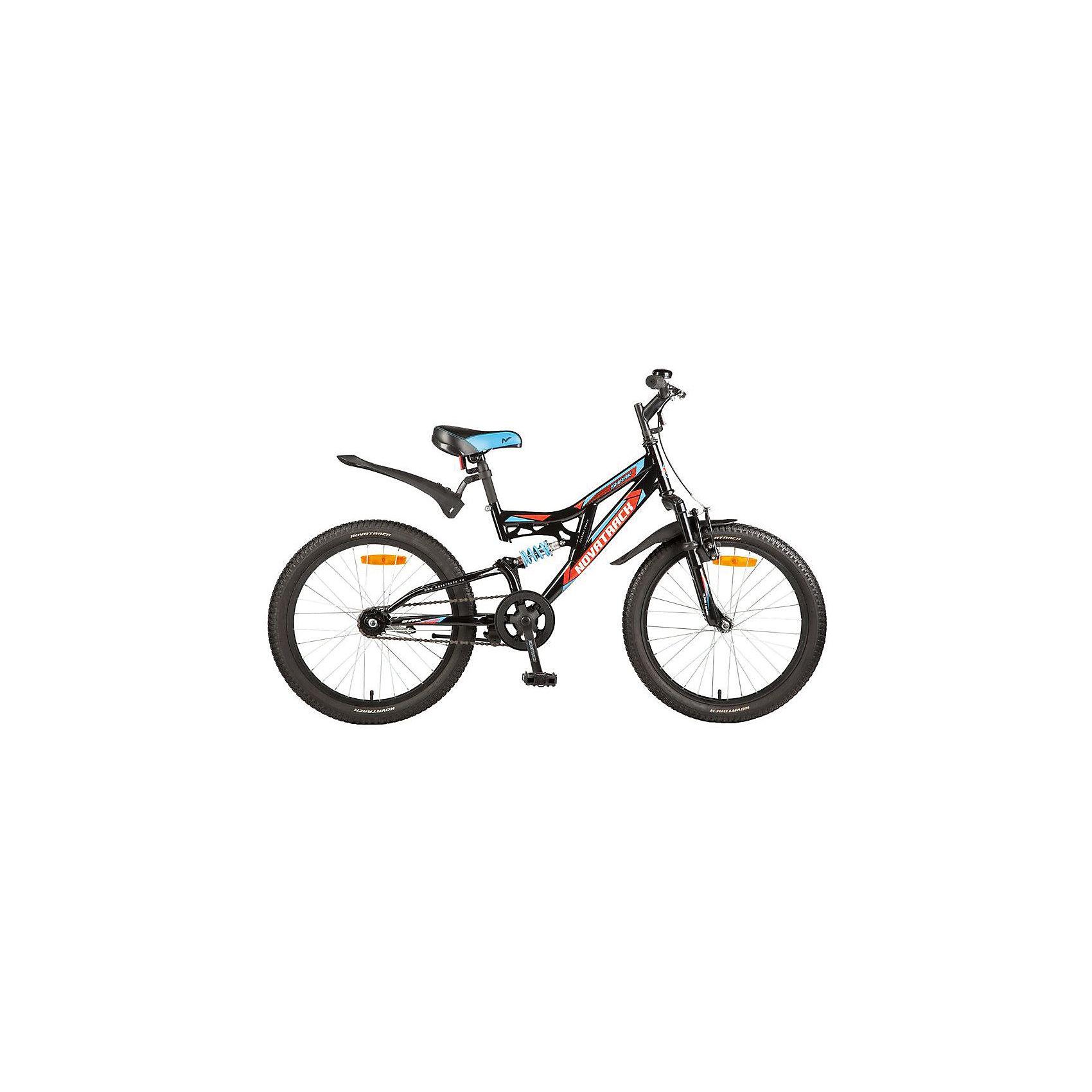 Велосипед SHARK, черный, 20 дюймов, NovatrackВелосипеды детские<br>Характеристики товара:<br><br>• цвет: черный<br>• возраст: от 7 лет<br>• стальная рама<br>• мягкое регулируемое по высоте седло<br>• руль регулируется по высоте<br>• диаметр колес: 20 дюймов<br>• надежные тормоза типа V-brake<br>• передний и задний амортизаторы<br>• 6 скоростей<br>• крылья защитят от грязи и брызг<br>• мягкие накладки на руле<br>• катафоты<br><br>Велосипед Shark 20'' – это мечта любого мальчишки 7-10 лет. Это легко управляемый велосипед-двухподвес, который станет предметом гордости и постоянным спутником во время летних прогулок. <br><br>Shark 20'' самая подходящая модель для катания не только во дворе, но и в парках, а также за городом.<br><br>Велосипед SHARK, черный, 20 дюймов, Novatrack можно купить в нашем интернет-магазине.<br><br>Ширина мм: 1100<br>Глубина мм: 180<br>Высота мм: 520<br>Вес г: 14000<br>Возраст от месяцев: 84<br>Возраст до месяцев: 120<br>Пол: Унисекс<br>Возраст: Детский<br>SKU: 5613222