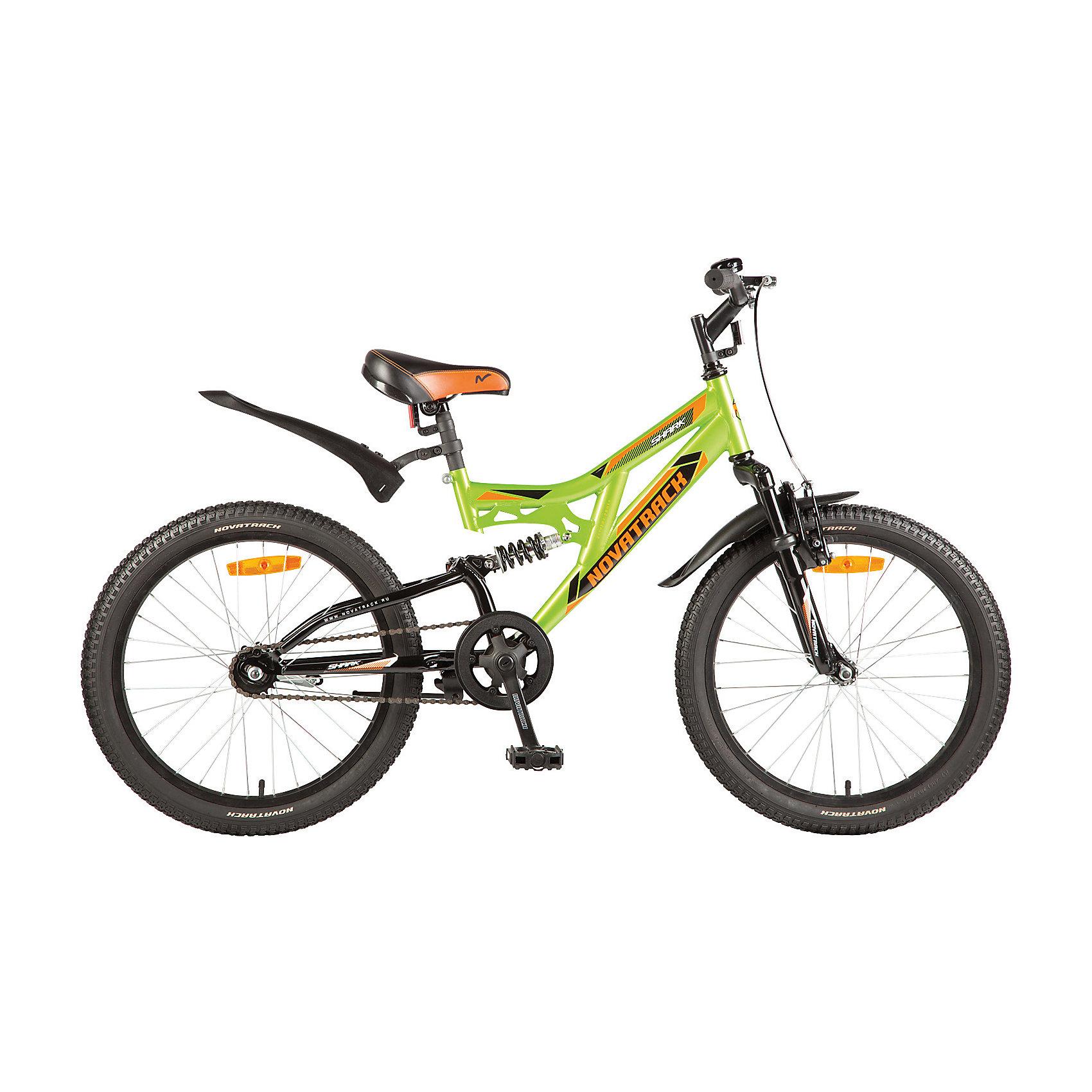 Велосипед SHARK, зелёный, 20 дюймов, NovatrackВелосипеды детские<br>Характеристики товара:<br><br>• цвет: зеленый<br>• возраст: от 7 лет<br>• стальная рама<br>• мягкое регулируемое по высоте седло<br>• руль регулируется по высоте<br>• диаметр колес: 20 дюймов<br>• надежные тормоза типа V-brake<br>• передний и задний амортизаторы<br>• 1 скорость<br>• крылья защитят от грязи и брызг<br>• мягкие накладки на руле<br>• катафоты<br><br>Велосипед Shark 20'' – это мечта любого мальчишки 7-10 лет. Это легко управляемый велосипед-двухподвес, который станет предметом гордости и постоянным спутником во время летних прогулок. <br><br>Shark 20'' самая подходящая модель для катания не только во дворе, но и в парках, а также за городом.<br><br>Велосипед SHARK, зеленый, 20 дюймов, Novatrack можно купить в нашем интернет-магазине.<br><br>Ширина мм: 1100<br>Глубина мм: 180<br>Высота мм: 520<br>Вес г: 14000<br>Возраст от месяцев: 84<br>Возраст до месяцев: 120<br>Пол: Унисекс<br>Возраст: Детский<br>SKU: 5613223