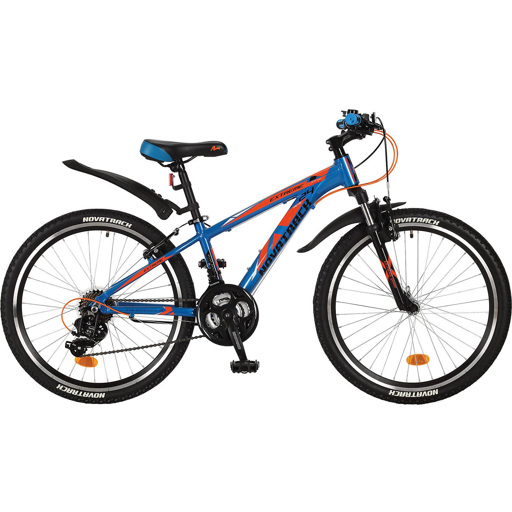 Велосипед EXTREME, синий, 24 дюйма, NovatrackВелосипеды детские<br>Характеристики товара:<br><br>• цвет: синий<br>• возраст: от 8 лет<br>• стальная рама<br>• мягкое регулируемое по высоте седло<br>• руль регулируется по высоте<br>• диаметр колес: 24 дюйма<br>• ручной тормоз<br>• ножной тормоз <br>• передний и задний амортизаторы<br>• 6 скоростей<br>• мягкие накладки на руле<br><br>Novatrack Extreme 24'' – это надежный велосипед для мальчиков 8-15 лет, который поможет освоить азы катания на скоростном велосипеде. <br><br>Велосипед оснащен 6-скоростной системой переключения передач, амортизационной вилкой, передним ручным тормозом, регулируемым сидением и рулем, для обеспечения удобной посадки. <br><br>Велосипед достаточно легкий, поэтому ребенок сможет самостоятельно его транспортировать из дома во двор. <br><br>Extreme 24'' предназначен для активной езды и готов к любым испытаниям на детской площадке, в парке и других местах, пригодных для катания.<br><br>Велосипед EXTREME, синий, 24 дюйма, Novatrack можно купить в нашем интернет-магазине.<br><br>Ширина мм: 1260<br>Глубина мм: 200<br>Высота мм: 650<br>Вес г: 19000<br>Возраст от месяцев: 108<br>Возраст до месяцев: 168<br>Пол: Унисекс<br>Возраст: Детский<br>SKU: 5613224
