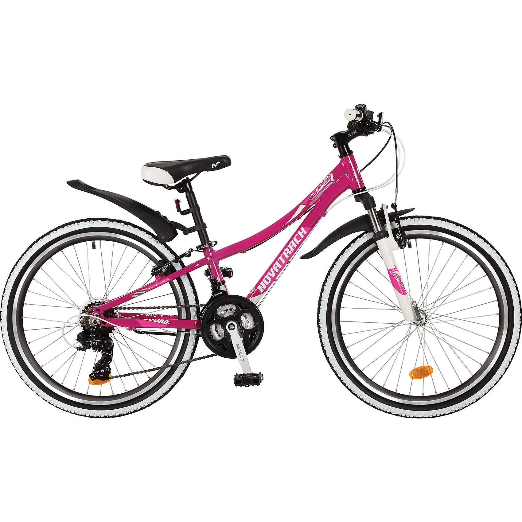 Велосипед  KATRINA, фиолетовый, 24 дюйма, NovatrackВелосипеды детские<br>Характеристики товара:<br><br>• цвет: фиолетовый<br>• возраст: от 7 лет<br>• стальная рама<br>• мягкое регулируемое по высоте седло<br>• руль регулируется по высоте<br>• диаметр колес: 24 дюйма<br>• передний тормоз типа V-brake<br>• задний тормоз типа Winzip<br>• передний и задний амортизаторы<br>• 21 скорость<br>• звонок<br>• мягкие накладки на руле<br><br>Новинка 2017 года - Novatrack Katrina 24 . Велосипед сделан из алюминиевого сплава , что делает его очень лёгким , а так же оборудована амортизационной вилкой и дисковыми тормозами , что делает велосипед ещё более безопасным .<br><br>Велосипед  KATRINA, фиолетовый, 24 дюйма, Novatrackможно купить в нашем интернет-магазине.<br><br>Ширина мм: 1260<br>Глубина мм: 200<br>Высота мм: 650<br>Вес г: 19000<br>Возраст от месяцев: 108<br>Возраст до месяцев: 168<br>Пол: Унисекс<br>Возраст: Детский<br>SKU: 5613225