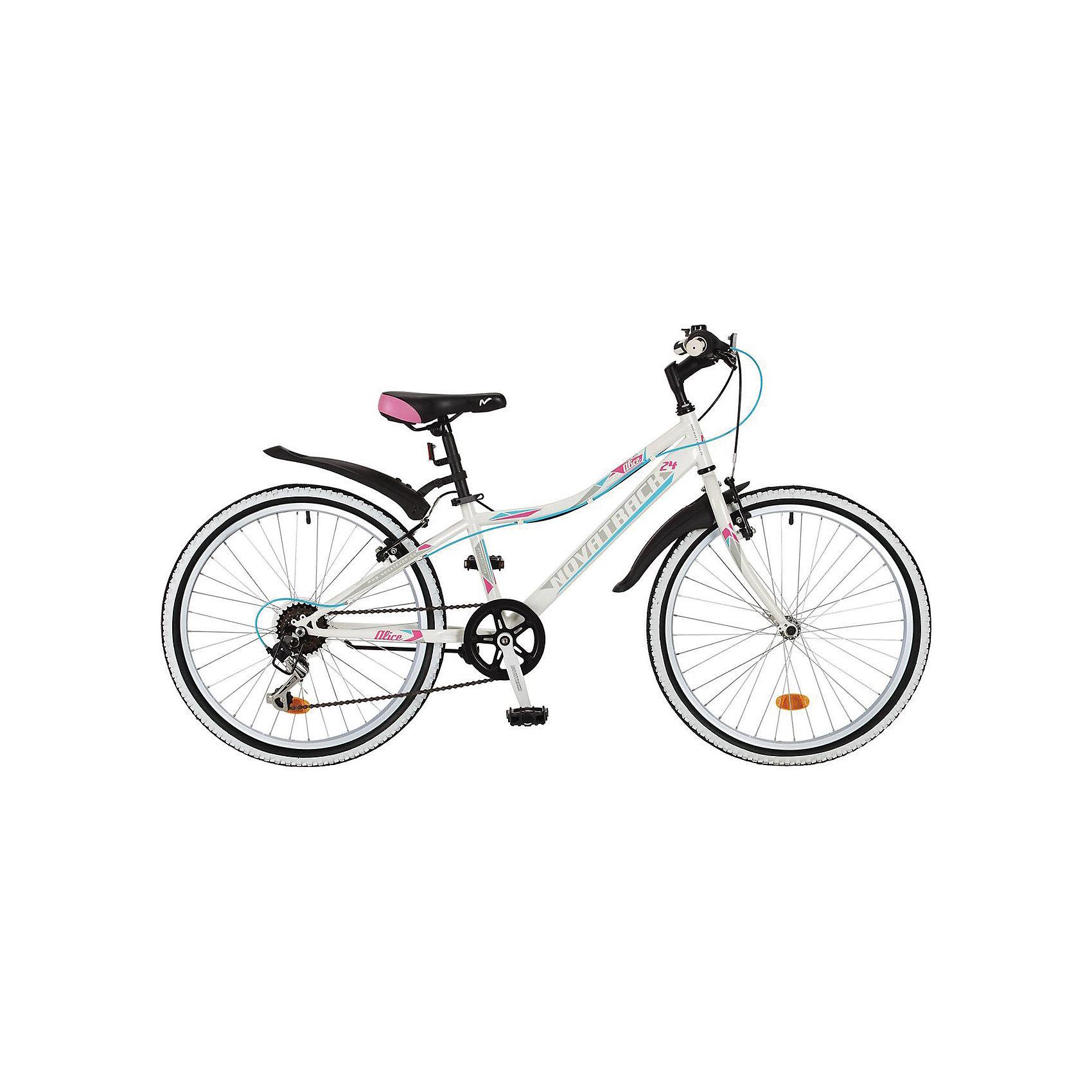 Велосипед ALICE, белый, 24 дюйма, NovatrackВелосипеды детские<br>Ещё одна новика 2017 года от Novatrack - это модель Alice , которая входит в специальную серию для девочек . Характерная низкая рама позволит комфортно чувствовать ребёнка за рулём такого велосипеда , а новый яркий дизайн обязательно понравится вашей юной леди . За переключение передач отвечает надёжное оборудование Shimano . Такой велосипед отлично подойдёт как для катания по пересечённой местности , так и для города .<br><br>Ширина мм: 1260<br>Глубина мм: 200<br>Высота мм: 650<br>Вес г: 19000<br>Возраст от месяцев: 108<br>Возраст до месяцев: 168<br>Пол: Унисекс<br>Возраст: Детский<br>SKU: 5613226