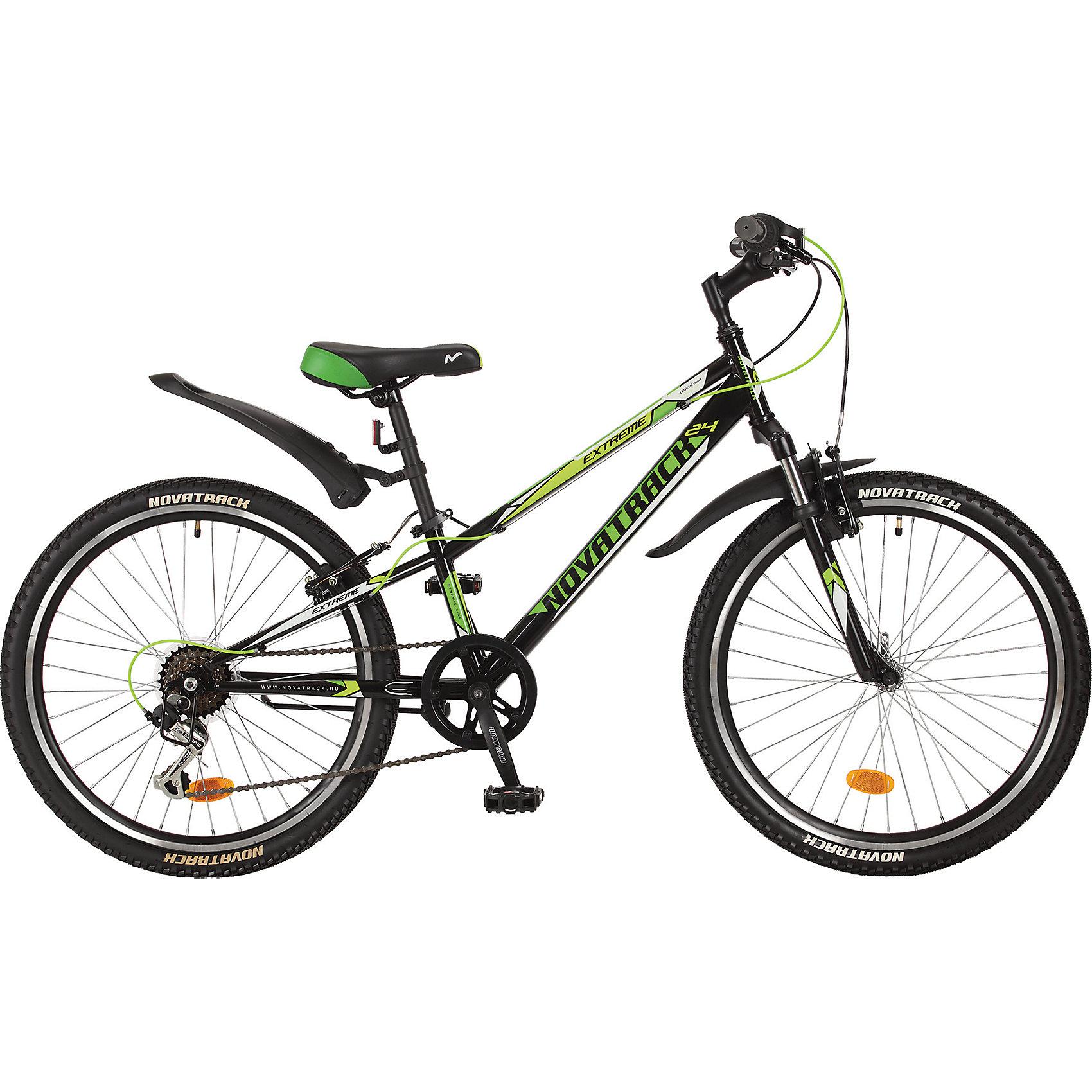 Велосипед EXTREME, чёрный, 24 дюйма, NovatrackВелосипеды детские<br>Novatrack Extreme 20'' – это безопасный и надежный велосипед для мальчиков 7-10 лет, который поможет освоить азы катания на скоростном велосипеде. 20 дюймовые колеса уже отличают эту модель от велосипедов, на которых катаются дошколята. Велосипед оснащен 6-скоростной системой переключения передач, амортизационной вилкой, передним ручным тормозом, регулируемым сидением и рулем, для обеспечения удобной посадки. Велосипед достаточно легкий, поэтому ребенок сможет самостоятельно его транспортировать из дома во двор. Extreme 20'' предназначен для активной езды и готов к любым испытаниям на детской площадке, в парке и других местах, пригодных для катания.<br><br>Ширина мм: 1250<br>Глубина мм: 200<br>Высота мм: 640<br>Вес г: 19000<br>Возраст от месяцев: 108<br>Возраст до месяцев: 168<br>Пол: Унисекс<br>Возраст: Детский<br>SKU: 5613227