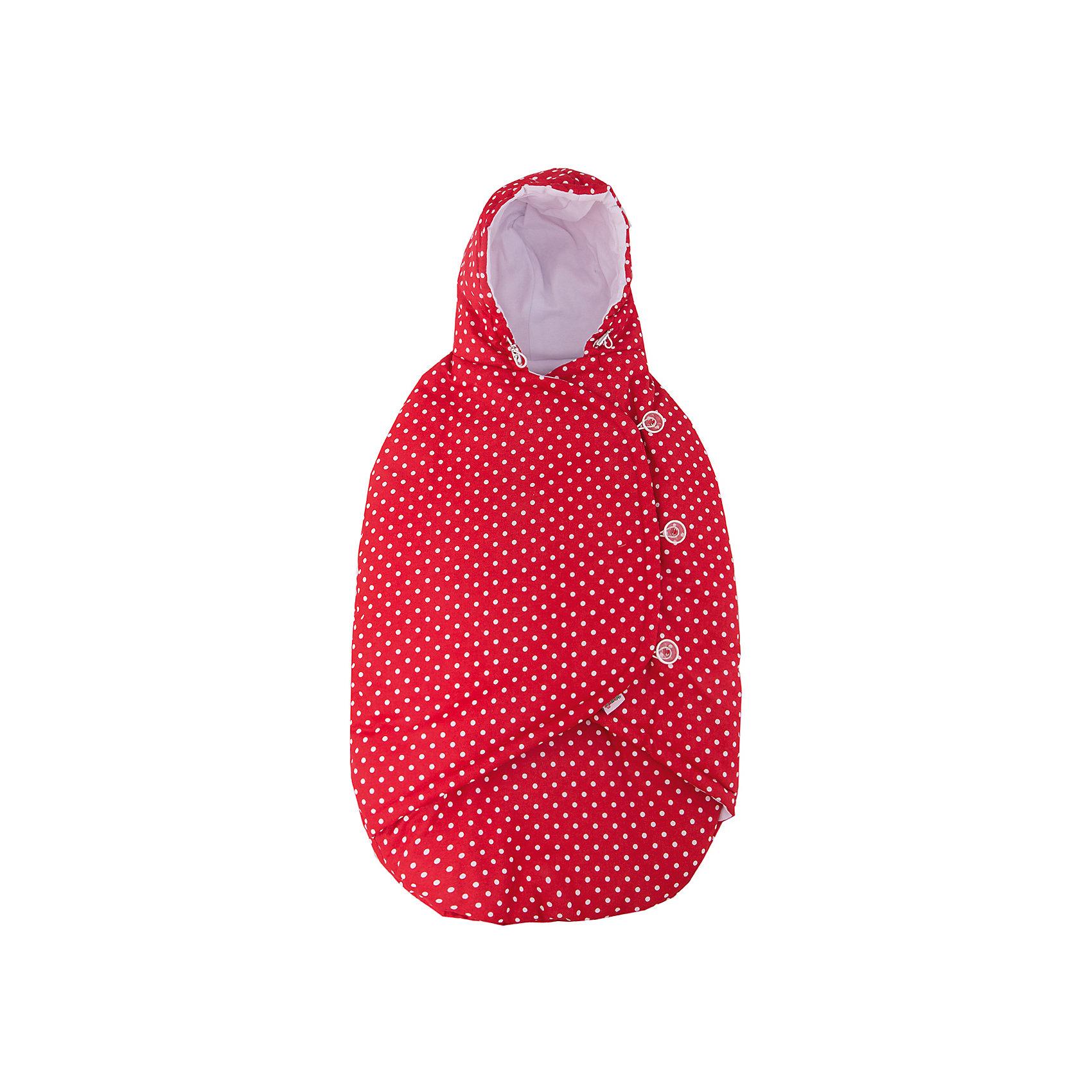 Конверт-кокон демисезон, Mammie, красный горошекДемисезонные конверты<br>Конверт-кокон  демисезон, Mammie, красный горошек.<br><br>Характеристики:<br><br>• Для детей с рождения до 6 месяцев<br>• Температурный диапазон: от -15°С до +15°С.<br>• Размер изделия: 80х40 см.<br>• Цвет: красный в белый горошек<br>• Материал верха: 100% хлопок<br>• Материал утеплителя: Alpolux 150 г/м?<br>• Материал подкладки: интерлок (100% хлопок)<br>• Материал кармана для ног: Alpolux 200 г/м?<br>• Уход: машинная стирка при 40 °С<br><br>Демисезонный конверт-кокон от бренда Mammie - идеальный вариант для выписки из роддома, поездок и путешествий с малышом в автолюльке. Его уникальная конструкция предусматривает удобные прорези под ремни безопасности, что позволяет, не потревожив кроху, надежно зафиксировать его в автокресле. Малыша можно пристегнуть как внутри, так и поверх конверта. Кроме того, эту модель можно использовать и как обычный конверт для коляски, так как прорези спрятаны под полами, что исключает доступ холодного воздуха внутрь кокона. Удобный капюшон утягивается с помощью специальных завязок. Кармашек для ног застегивается с обеих сторон на молнии. Полы конверта закрываются одна поверх другой. Для того, чтобы не побеспокоить ребенка во время сна, на изделии в качестве застежек предусмотрены пуговки, что позволяет бесшумно застегнуть и расстегнуть конверт. Утеплитель премиум класса Alpolux сочетает в себе натуральную шерсть мериноса и специальные микроволокна, которые помогают поддержать оптимальную для новорождённого температуру: малышу будет тепло на улице и в тоже время комфортно в помещении.<br><br>Конверт-кокон  демисезон, Mammie, красный горошек можно купить в нашем интернет-магазине.<br><br>Ширина мм: 200<br>Глубина мм: 300<br>Высота мм: 50<br>Вес г: 100<br>Возраст от месяцев: 0<br>Возраст до месяцев: 12<br>Пол: Унисекс<br>Возраст: Детский<br>SKU: 5613238