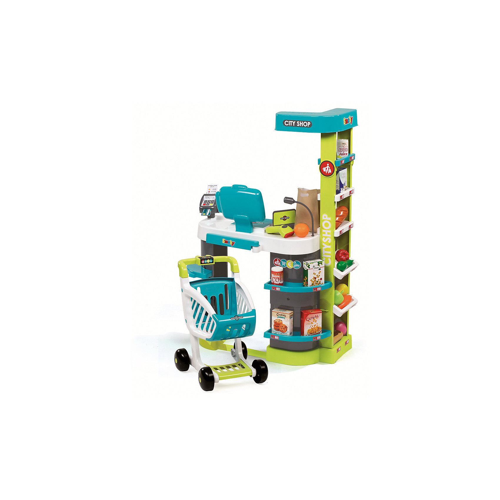 Супермаркет игровой City Shop, со светом и звуком, SmobyДетский супермаркет<br>Характеристики товара:<br><br>• возраст от 3 лет;<br>• материал: пластик;<br>• в комплекте: супермаркет, тележка, 4 коробочки, овощи и фрукты, эклер, батон, пирожное, 2 баночки, ключ, сканер, банковская карта, разделитель, 4 карточки, 6 монет, 12 купюр, бумажный пакет;<br>• работает от 2 батареек АА (в комплект не входят);<br>• размер магазина 59,5х32,4х86 см;<br>• размер упаковки 49,4х23,7х69,7 см;<br>• вес упаковки 4,01 кг;<br>• страна производитель: Франция.<br><br>Супермаркет игровой City Shop Smoby представляет собой настоящий магазин с тележкой, продуктами и кассовым аппаратом. Он познакомит девочку с устройством супермаркета и кассового аппарата, а также позволит ей придумать игры, представляя себя продавцом или покупателем. На полках расставлены продукты для продажи, за стойкой расположился кассовый аппарат с монетами, купюрами и терминалом для карт. В большую тележку можно сложить необходимые продукты. Игрушка оснащена сенсорным дисплеем, на котором отображается сумма покупки, и звуковыми эффектами. Во время игры слышны звуки сканера, который считывает штрих-код. <br><br>Супермаркет игровой City Shop Smoby можно приобрести в нашем интернет-магазине.<br><br>Ширина мм: 494<br>Глубина мм: 237<br>Высота мм: 697<br>Вес г: 4010<br>Возраст от месяцев: 36<br>Возраст до месяцев: 96<br>Пол: Унисекс<br>Возраст: Детский<br>SKU: 5613492