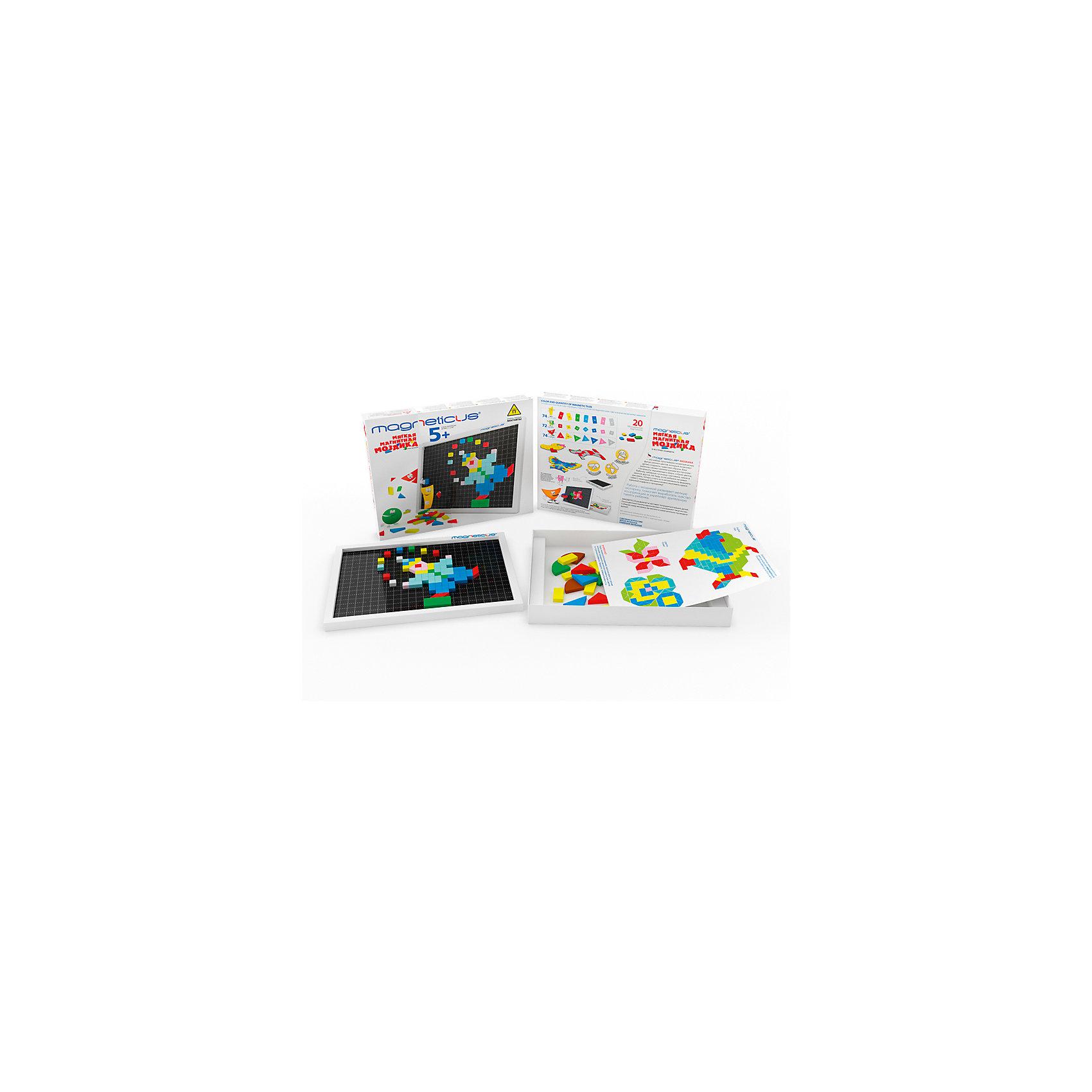 Мозаика магнитная, 220 деталей,  MagneticusМозаика<br>Характеристики товара:<br><br>• возраст от 3 лет;<br>• материал: металл, полимер;<br>• в комплекте: 220 деталей, игровое поле, буклет;<br>• размер упаковки 26х22х4 см;<br>• вес упаковки 250 гр.;<br>• страна производитель: Россия.<br><br>Мозаика магнитная Magneticus 220 деталей — набор магнитных разноцветных элементов, выполненных в виде геометрических фигур. Детали крепятся на металлическую основу, образуя фигуры и рисунки. Проявляя фантазию, ребенок может создавать собственные картинки или следовать указаниям в инструкции. Игрушка развивает у детей мелкую моторику рук, усидчивость, внимательность, творческие способности.<br><br>Мозаику магнитную Magneticus 220 деталей можно приобрести в нашем интернет-магазине.<br><br>Ширина мм: 220<br>Глубина мм: 260<br>Высота мм: 40<br>Вес г: 250<br>Возраст от месяцев: 36<br>Возраст до месяцев: 96<br>Пол: Унисекс<br>Возраст: Детский<br>SKU: 5613495
