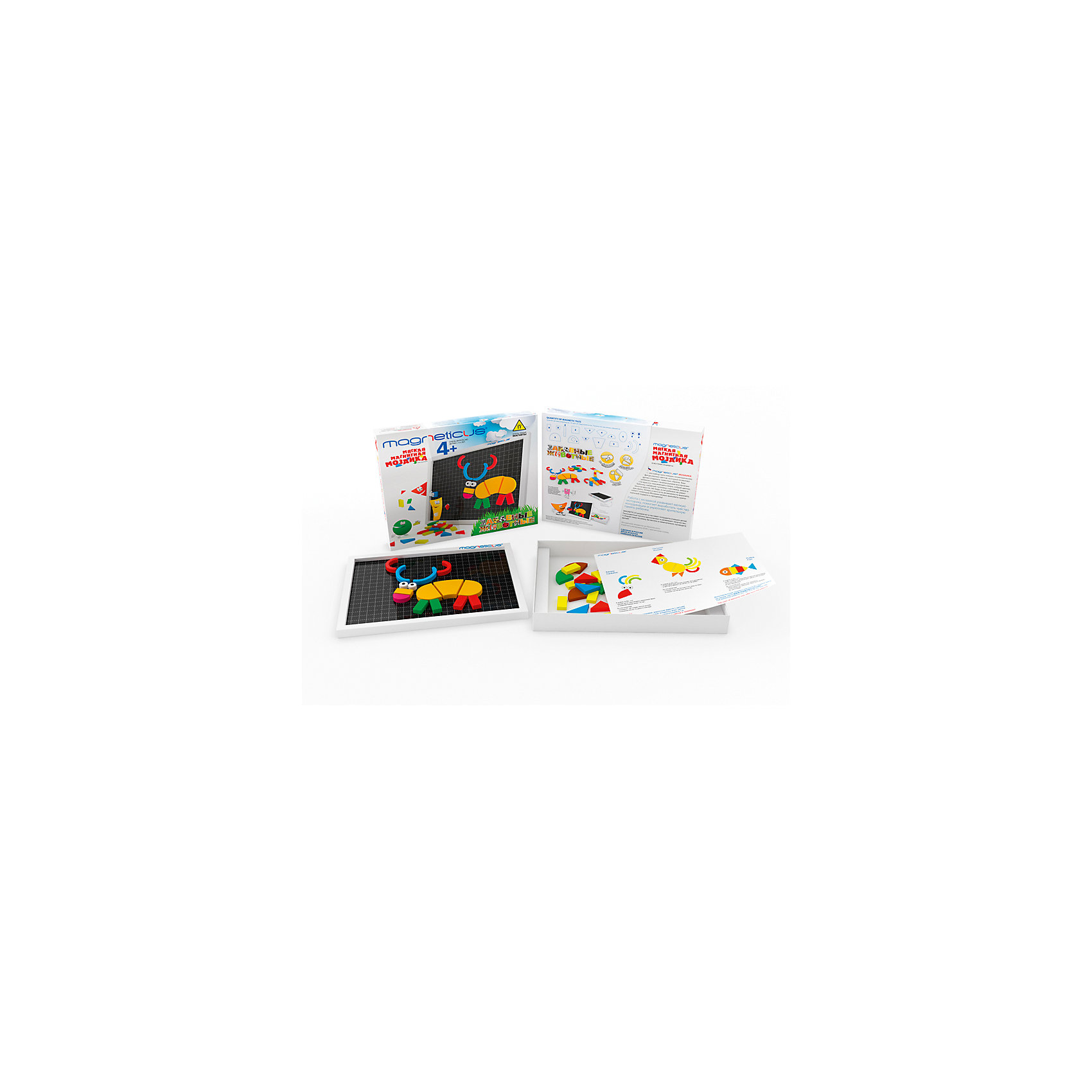 Мозаика магнитная Забавные Животные, 65 деталей,  MagneticusМозаика<br>Характеристики товара:<br><br>• возраст от 3 лет;<br>• материал: металл, полимер;<br>• в комплекте: 55 магнитных деталей, игровое поле, буклет;<br>• размер упаковки 26х22х4 см;<br>• вес упаковки 300 гр.;<br>• страна производитель: Россия.<br><br>Мозаика магнитная «Забавные животные» Magneticus 65 деталей — набор магнитных разноцветных элементов, выполненных в виде геометрических фигур. Детали крепятся на металлическую основу, образуя фигуры и рисунки. Проявляя фантазию, ребенок может создавать собственные картинки или следовать указаниям в инструкции. Игрушка развивает у детей мелкую моторику рук, усидчивость, внимательность, творческие способности.<br><br>Мозаику магнитную «Забавные животные» Magneticus 65 деталей можно приобрести в нашем интернет-магазине.<br><br>Ширина мм: 260<br>Глубина мм: 220<br>Высота мм: 40<br>Вес г: 300<br>Возраст от месяцев: 36<br>Возраст до месяцев: 96<br>Пол: Унисекс<br>Возраст: Детский<br>SKU: 5613496