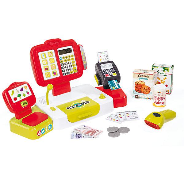 Электронная касса с аксесуарами, 27 предметов, SmobyДетский супермаркет<br>Характеристики товара:<br><br>• возраст от 3 лет;<br>• материал: пластик;<br>• в комплекте: кассовый аппарат, 12 купюр, 6 монет, пластиковая карточка, 4 ценника, 2 коробки, банка, считыватель штрих кода;<br>• работает от 3 батареек АА, батарейки LR54 (в комплекте);<br>• размер упаковки 41х29х9 см;<br>• вес упаковки 3,86 кг;<br>• страна производитель: Франция.<br><br>Электронная касса с аксессуарами Smoby позволит познакомиться с устройством кассового аппарата в супермаркетах. Игрушка оснащена кассовым аппаратом, калькулятором, терминалом для банковских карт, устройством для считывания штрих-кода. С набором дети могут придумать разнообразные игры, представляя себя в роли продавца или покупателя. Игрушка оснащена световыми и звуковыми эффектами, делающими игру еще увлекательней.<br><br>Электронную кассу с аксессуарами Smoby можно приобрести в нашем интернет-магазине.<br>Ширина мм: 416; Глубина мм: 294; Высота мм: 93; Вес г: 901; Возраст от месяцев: 36; Возраст до месяцев: 2147483647; Пол: Женский; Возраст: Детский; SKU: 5613506;
