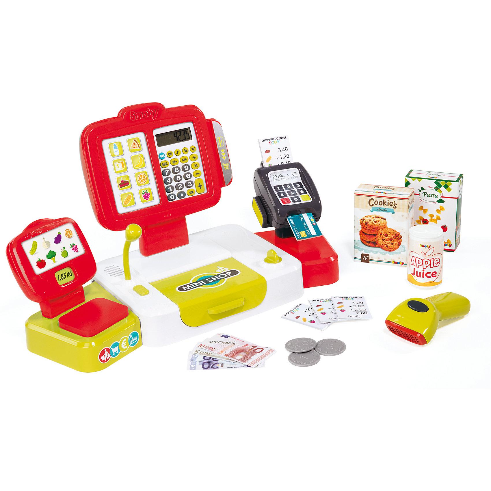 Электронная касса с аксесуарами, 27 предметов, SmobyДетский супермаркет<br>Характеристики товара:<br><br>• возраст от 3 лет;<br>• материал: пластик;<br>• в комплекте: кассовый аппарат, 12 купюр, 6 монет, пластиковая карточка, 4 ценника, 2 коробки, банка, считыватель штрих кода;<br>• работает от 3 батареек АА, батарейки LR54 (в комплекте);<br>• размер упаковки 41х29х9 см;<br>• вес упаковки 3,86 кг;<br>• страна производитель: Франция.<br><br>Электронная касса с аксессуарами Smoby позволит познакомиться с устройством кассового аппарата в супермаркетах. Игрушка оснащена кассовым аппаратом, калькулятором, терминалом для банковских карт, устройством для считывания штрих-кода. С набором дети могут придумать разнообразные игры, представляя себя в роли продавца или покупателя. Игрушка оснащена световыми и звуковыми эффектами, делающими игру еще увлекательней.<br><br>Электронную кассу с аксессуарами Smoby можно приобрести в нашем интернет-магазине.<br><br>Ширина мм: 411<br>Глубина мм: 288<br>Высота мм: 88<br>Вес г: 840<br>Возраст от месяцев: 36<br>Возраст до месяцев: 2147483647<br>Пол: Женский<br>Возраст: Детский<br>SKU: 5613506