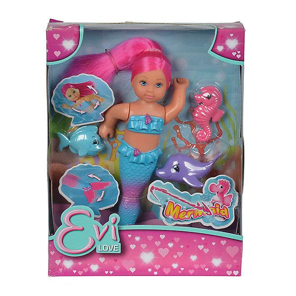 Кукла Еви-русалка с двигающимся хвостом и морскими животными, 12 см, SimbaКуклы-русалки<br>Характеристики товара:<br><br>• возраст от 3 лет;<br>• материал: пластик;<br>• в комплекте: кукла, дельфин, морской конек, рыбка;<br>• высота куклы 12 см;<br>• размер упаковки 18х14х5 см;<br>• вес упаковки 140 гр.;<br>• страна производитель: Китай.<br><br>Кукла Еви-русалка с двигающимся хвостом и морскими животными Simba представляет собой милую куколку Еви в образе русалочки. У Еви мягкие розовые волосы, которые можно расчесать или украсить. Руки и хвост куклы подвижные, ее можно брать с собой в ванную и придумывать разнообразные игры. Вместе с куклой в комплекте ее верные морские друзья.<br><br>Куклу Еви-русалку с двигающимся хвостом и морскими животными Simba можно приобрести в нашем интернет-магазине.<br>Ширина мм: 50; Глубина мм: 180; Высота мм: 140; Вес г: 140; Возраст от месяцев: 36; Возраст до месяцев: 2147483647; Пол: Женский; Возраст: Детский; SKU: 5613507;