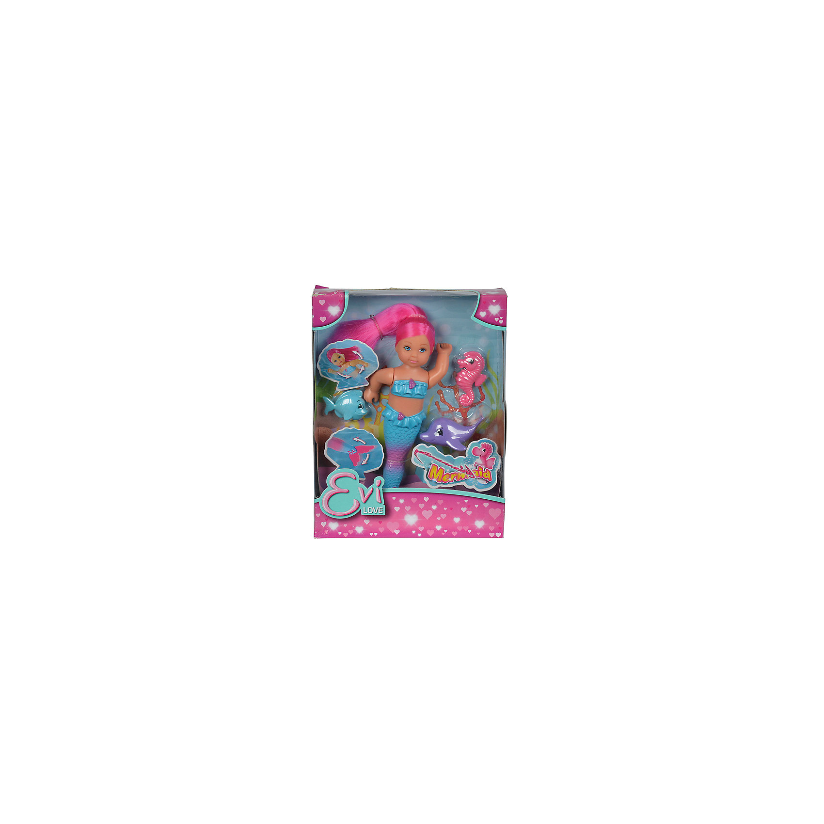 Кукла Еви-русалка с двигающимся хвостом и морскими животными, 12 см, SimbaМини-куклы<br>Характеристики товара:<br><br>• возраст от 3 лет;<br>• материал: пластик;<br>• в комплекте: кукла, дельфин, морской конек, рыбка;<br>• высота куклы 12 см;<br>• размер упаковки 18х14х5 см;<br>• вес упаковки 140 гр.;<br>• страна производитель: Китай.<br><br>Кукла Еви-русалка с двигающимся хвостом и морскими животными Simba представляет собой милую куколку Еви в образе русалочки. У Еви мягкие розовые волосы, которые можно расчесать или украсить. Руки и хвост куклы подвижные, ее можно брать с собой в ванную и придумывать разнообразные игры. Вместе с куклой в комплекте ее верные морские друзья.<br><br>Куклу Еви-русалку с двигающимся хвостом и морскими животными Simba можно приобрести в нашем интернет-магазине.<br><br>Ширина мм: 50<br>Глубина мм: 180<br>Высота мм: 140<br>Вес г: 140<br>Возраст от месяцев: 36<br>Возраст до месяцев: 2147483647<br>Пол: Женский<br>Возраст: Детский<br>SKU: 5613507
