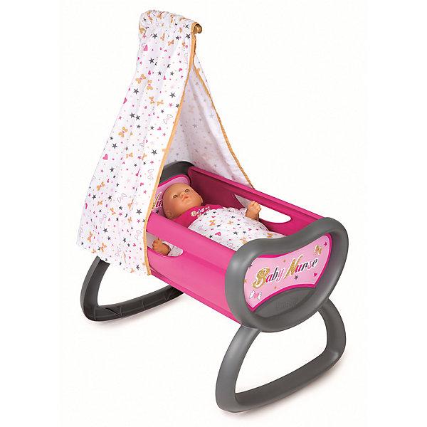 Колыбель для пупса Baby Nurse, 52*33*76 см, SmobyМебель для кукол<br>Характеристики товара:<br><br>• возраст от 1,5 лет;<br>• материал: пластик, текстиль;<br>• в комплекте: колыбель, балдахин, покрывало;<br>• подходит для кукол высотой до 42 см;<br>• размер колыбели 52х33х76 см;<br>• размер упаковки 38,5х12,9х57,4 см;<br>• вес упаковки 1,88 кг;<br>• страна производитель: Франция.<br><br>Колыбель для пупса Baby Nurse Smoby — удобная кроватка для любимой куколки девочки. Кроватка оборудована полозьями, которые делают ее качающейся колыбелькой, чтобы можно было убаюкать куклу. В комплекте балдахин и мягкое покрывало. Игрушка способствует развитию у девочки чувства заботы и ответственности. Колыбель изготовлена из качественного безопасного пластика и не имеет острых углов.<br><br>Колыбель для пупса Baby Nurse Smoby можно приобрести в нашем интернет-магазине.<br><br>Ширина мм: 385<br>Глубина мм: 129<br>Высота мм: 574<br>Вес г: 1880<br>Возраст от месяцев: 18<br>Возраст до месяцев: 48<br>Пол: Женский<br>Возраст: Детский<br>SKU: 5613510
