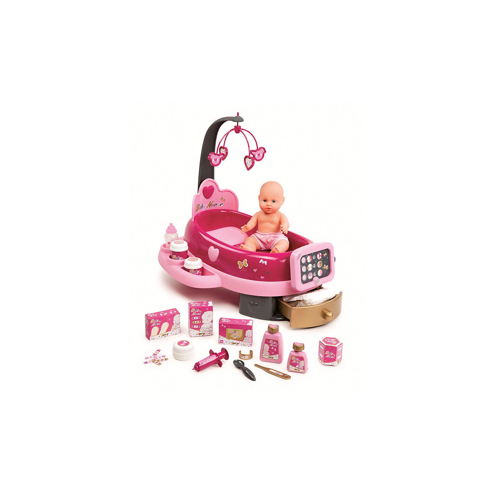 Набор по уходу за куклой, со светом и звуком, 39*54*50 см, SmobyКуклы-пупсы<br>Характеристики товара:<br><br>• возраст от 3 лет;<br>• материал: пластик;<br>• в комплекте: центр по уходу за куклой, кукла, 4 коробочки, 5 баночек, 1 бутылочка, 6 пластырей, памперс, ложка, градусник, шприц, браслет, звуковой дисплей;<br>• подходит для кукол высотой до 32 см;<br>• работает от 2 батареек ААА (в комплект не входят);<br>• размер упаковки 64х49х14,4 см;<br>• вес упаковки 1,96 кг;<br>• страна производитель: Китай.<br><br>Набор по уходу за куклой Smoby включает в себя необходимые аксессуары по уходу за куколкой. Специальный центр оборудован дисплеем, ящиком для вещей, полочкой для бутылочек, дугой с подвесными игрушками. Игрушка оснащена световыми и звуковыми эффектами, что делает игру еще увлекательней. Набор прививает у девочек чувство заботы и ответственности. Игрушка выполнена и качественного безвредного пластика.<br><br>Набор по уходу за куклой Smoby можно приобрести в нашем интернет-магазине.<br><br>Ширина мм: 640<br>Глубина мм: 144<br>Высота мм: 490<br>Вес г: 1960<br>Возраст от месяцев: 36<br>Возраст до месяцев: 96<br>Пол: Женский<br>Возраст: Детский<br>SKU: 5613511
