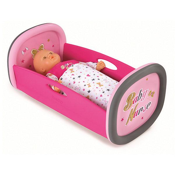 Колыбель для пупса Baby Nurse, 28,5x52x26 см, SmobyМебель для кукол<br>Характеристики товара:<br><br>• возраст от 1,5 лет;<br>• материал: пластик, текстиль;<br>• в комплекте: колыбель, покрывало;<br>• подходит для кукол высотой до 42 см;<br>• размер колыбели 28,5х52х26 см;<br>• размер упаковки 56,5х33,5х9,6 см;<br>• вес упаковки 1,4 кг;<br>• страна производитель: Франция.<br><br>Колыбель для пупса Baby Nurse Smoby — удобная кроватка для любимой куколки девочки. В комплекте мягкое покрывало, с помощью которого можно укутать куклу. Игрушка способствует развитию у девочки чувства заботы и ответственности. Колыбель изготовлена из качественного безопасного пластика и не имеет острых углов.<br><br>Колыбель для пупса Baby Nurse Smoby можно приобрести в нашем интернет-магазине.<br><br>Ширина мм: 565<br>Глубина мм: 96<br>Высота мм: 335<br>Вес г: 1400<br>Возраст от месяцев: 18<br>Возраст до месяцев: 48<br>Пол: Женский<br>Возраст: Детский<br>SKU: 5613512