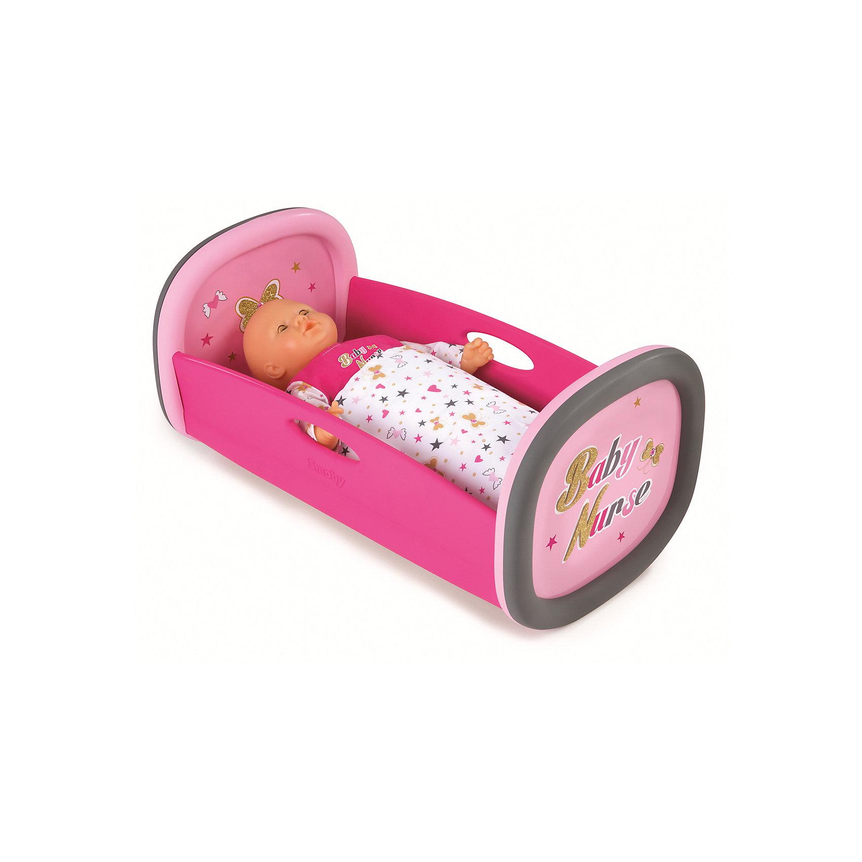 Колыбель для пупса Baby Nurse, 28,5x52x26 см, SmobyДомики и мебель<br>Характеристики товара:<br><br>• возраст от 1,5 лет;<br>• материал: пластик, текстиль;<br>• в комплекте: колыбель, покрывало;<br>• подходит для кукол высотой до 42 см;<br>• размер колыбели 28,5х52х26 см;<br>• размер упаковки 56,5х33,5х9,6 см;<br>• вес упаковки 1,4 кг;<br>• страна производитель: Франция.<br><br>Колыбель для пупса Baby Nurse Smoby — удобная кроватка для любимой куколки девочки. В комплекте мягкое покрывало, с помощью которого можно укутать куклу. Игрушка способствует развитию у девочки чувства заботы и ответственности. Колыбель изготовлена из качественного безопасного пластика и не имеет острых углов.<br><br>Колыбель для пупса Baby Nurse Smoby можно приобрести в нашем интернет-магазине.<br><br>Ширина мм: 565<br>Глубина мм: 96<br>Высота мм: 335<br>Вес г: 1400<br>Возраст от месяцев: 18<br>Возраст до месяцев: 48<br>Пол: Женский<br>Возраст: Детский<br>SKU: 5613512