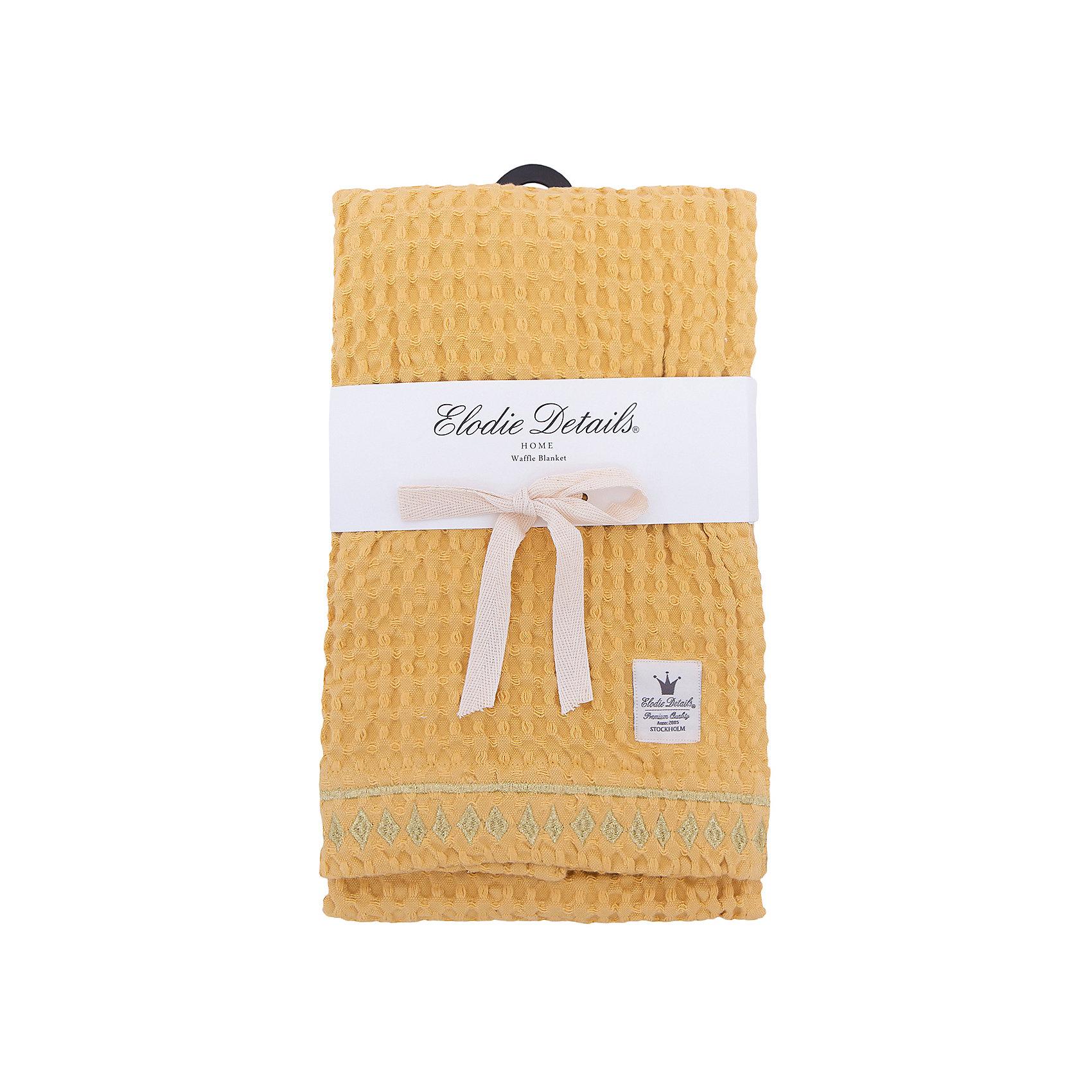 Плед Sweet Honey, , Elodie Details, вафельный узорОдеяла, пледы<br>Плед Sweet Honey, вафельный узор, Elodie Details (Элоди Дитейлс)<br><br>Характеристики:<br><br>• дизайн в марокканском стиле<br>• пропускает воздух<br>• размер: 70х100 см<br>• материал: хлопок<br>• размер упаковки: 37х4х25 см<br>• вес: 430 грамм<br><br>Плед Sweet Honey от известного бренда Elodie Details согреет малыша во время прогулки или отдыха. Плед отлично подойдет для прогулки с коляской или отдыха на природе. Изделие выполнено из органического хлопка, который хорошо сохраняет тепло и не теряет свои свойства после стирки. Плед выполнен в желтом цвете и декорирован золотистой вышивкой по краю.<br><br>Плед  Sweet Honey, вафельный узор вы можете купить в нашем интернет-магазине.<br><br>Ширина мм: 250<br>Глубина мм: 40<br>Высота мм: 370<br>Вес г: 430<br>Возраст от месяцев: 0<br>Возраст до месяцев: 120<br>Пол: Унисекс<br>Возраст: Детский<br>SKU: 5613541