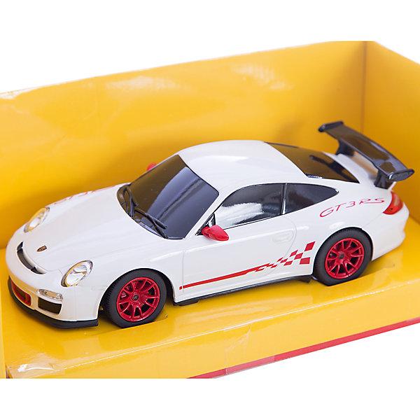 Радиоуправляемая машина Porsche GT3 RS 1:24, RASTAR, белаяИдеи подарков<br>Характеристики товара:<br><br>• возраст от 6 лет;<br>• материал: пластик, металл;<br>• в комплекте: машинка, пульт;<br>• работает от 5 батареек ААА (в комплект не входят);<br>• длина машины 18 см;<br>• масштаб 1:24;<br>• максимальная скорость 12 км/час;<br>• размер упаковки 38,5х12х10 см;<br>• вес упаковки 480 гр.;<br>• страна производитель: Китай.<br><br>Радиоуправляемая машина Porsche GT3 RS RASTAR представляет собой копию автомобиля Porsche. Машина управляется пультом, может ездить вперед и назад, поворачивать налево и направо. Во время движения горят передние и задние фары, и слышен звук работающего мотора. При повороте загораются поворотники. С машинкой можно устроить настоящие захватывающие заезды или гонки.<br><br>Радиоуправляемую машину Porsche GT3 RS RASTAR можно приобрести в нашем интернет-магазине.<br><br>Ширина мм: 120<br>Глубина мм: 100<br>Высота мм: 385<br>Вес г: 480<br>Возраст от месяцев: 72<br>Возраст до месяцев: 2147483647<br>Пол: Мужской<br>Возраст: Детский<br>SKU: 5614378