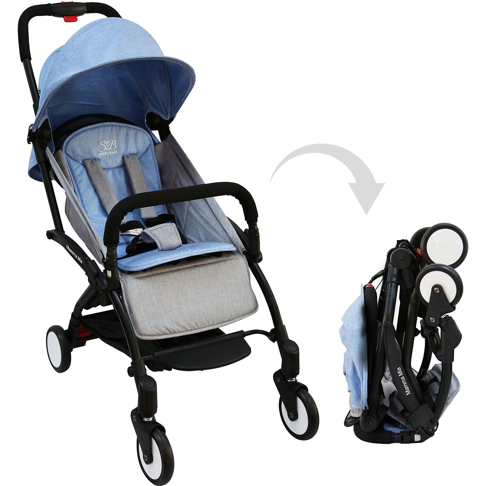 Прогулочная коляска Sweet Baby Mamma Mia Linen Dubai, голубаяПрогулочные коляски<br>Характеристики товара:<br><br>• цвет: Linen Dubai, голубой<br>• алюминиевая рама.<br>• регулируемая ремешком спинка коляски, угол наклона 165 градусов<br>• на сиденье со спинкой находится съемный матрасик с прорезями для ремней<br>• защитный съемный бампер перед ребенком<br>• пластиковая подножка для подросшего ребенка<br>• капюшон со смотровым окошком<br>• цельная ручка коляски с накладкой<br>• полиуретановые колеса<br>• передние поворотные (без блокировки)<br>• пружинная амортизация на передних колесах<br>• тип тормоза: ножной, на одном из задних колес<br>• механизм складывания: книжка<br>• коляска складывается одной рукой вместе с прогулочным блоком<br>• имеется ремень для переноски коляски на плече<br><br>Размер коляски: 67х45х103 см<br>Размер коляски в сложенном виде: 20х43х57 см<br>Вес коляски: 5,8 кг<br>Размер упаковки: 95х46х97 см<br>Вес в упаковке: 7,7 кг<br><br>Прогулочная коляска Mamma Mia бренда Sweet Baby имеет небольшой вес и компактный размер, что идеально для родителей, путешествующих с ребенком. В сложенном виде она очень компактна и без труда влезет в багажник или на полку самолета.<br><br>Прогулочную коляску Mamma Mia Linen Dubai, Sweet Baby, цвет голубой можно купить в нашем интернет-магазине.<br><br>Ширина мм: 950<br>Глубина мм: 460<br>Высота мм: 970<br>Вес г: 7770<br>Цвет: голубой<br>Возраст от месяцев: 0<br>Возраст до месяцев: 36<br>Пол: Унисекс<br>Возраст: Детский<br>SKU: 5614393